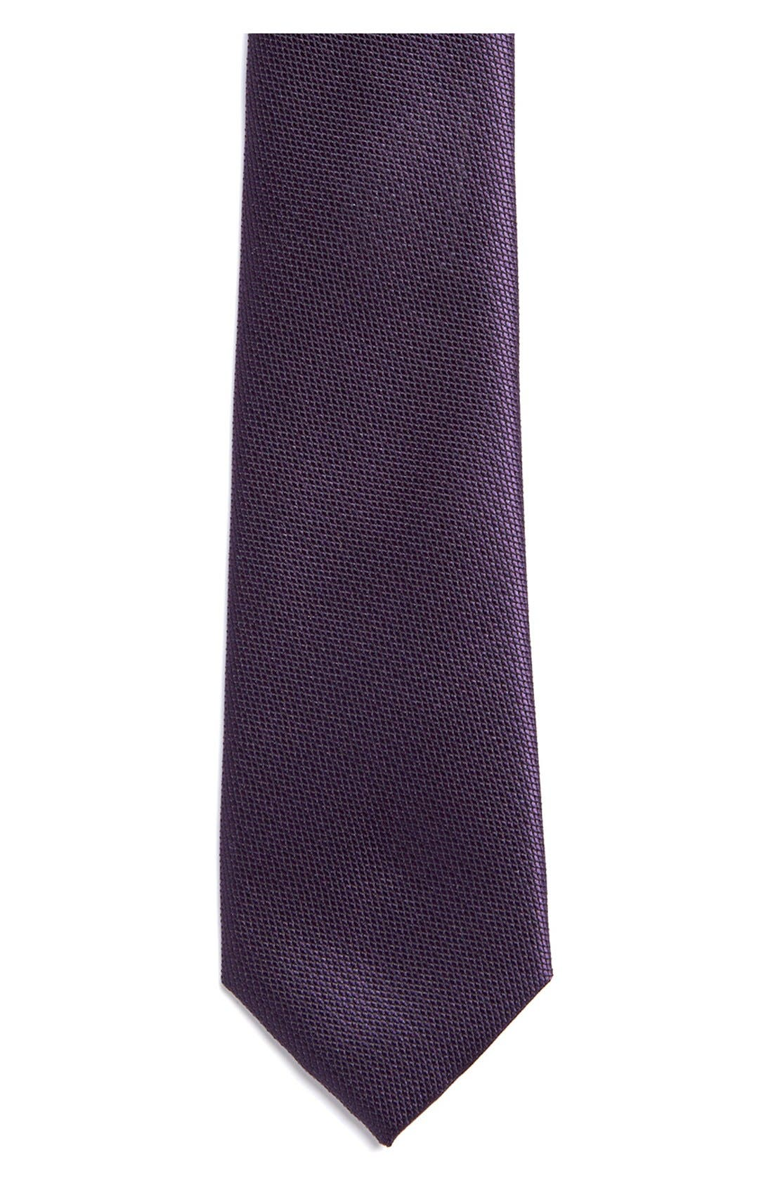 Alternate Image 2  - Topman Slim Burgundy Tie
