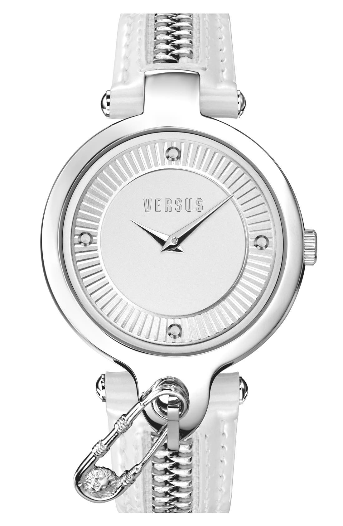 Main Image - VERSUS by Versace 'Key Biscane' Zip Detail Leather Strap Watch, 38mm