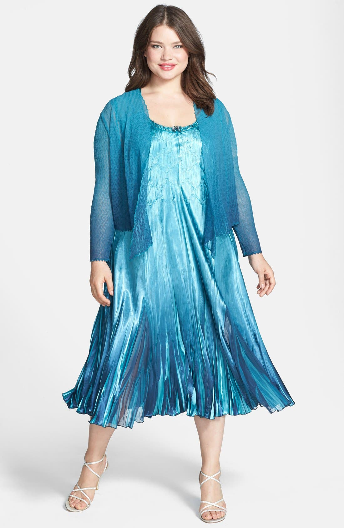 Alternate Image 1 Selected - Komarov Chiffon & Charmeuse Dress with Jacket (Plus Size)