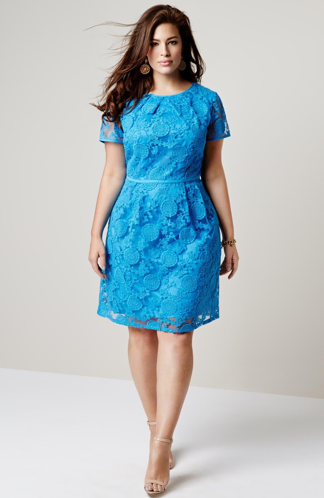 Alternate Image 4  - Adrianna Papell 'Pleats' Lace Dress (Plus Size)