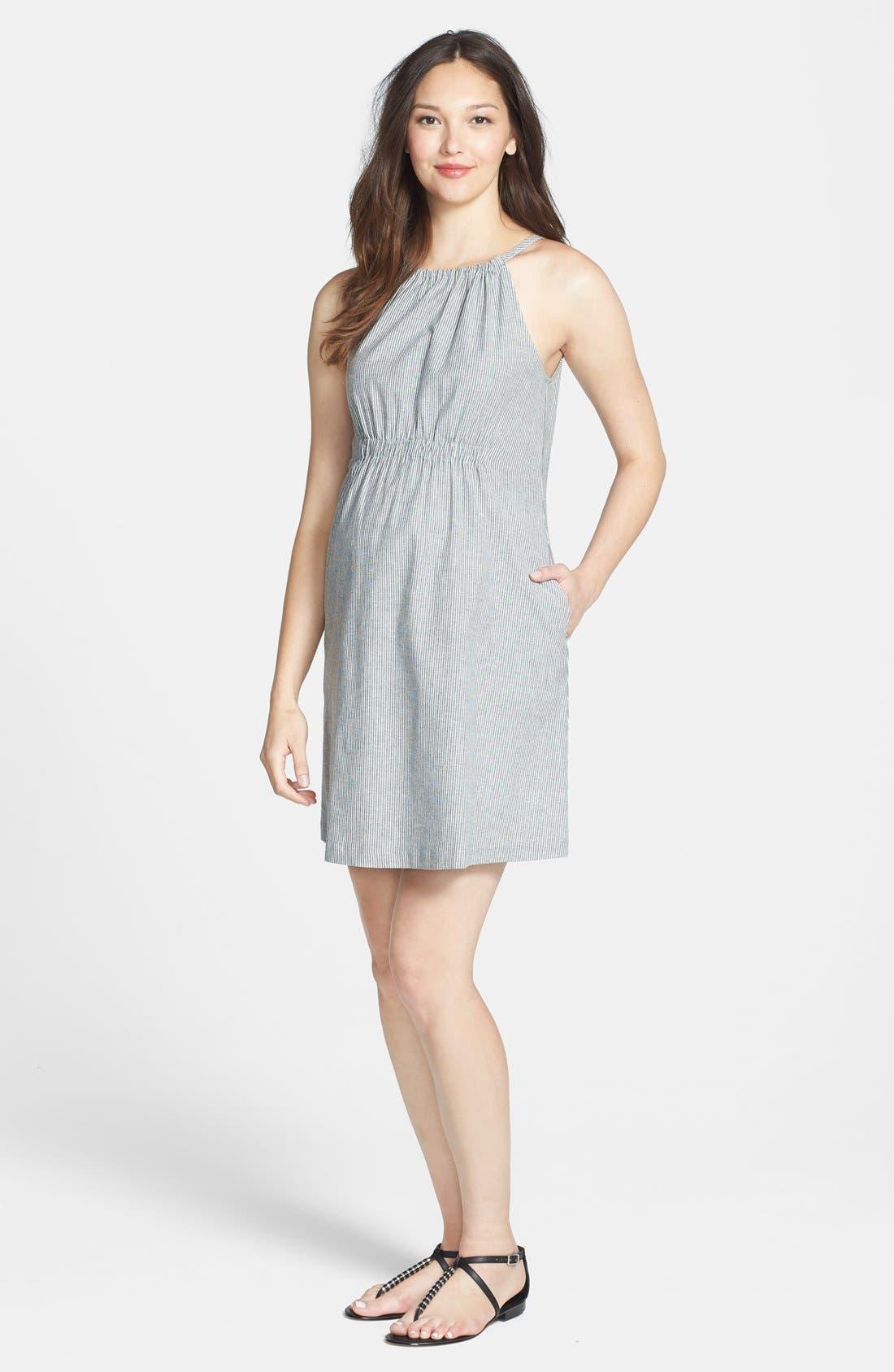 Main Image - Maternal America Seersucker Maternity Dress
