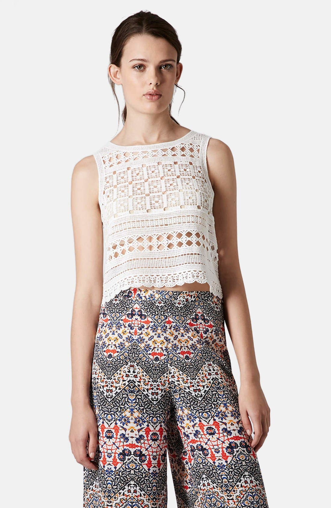 Alternate Image 1 Selected - Topshop Crochet Tank