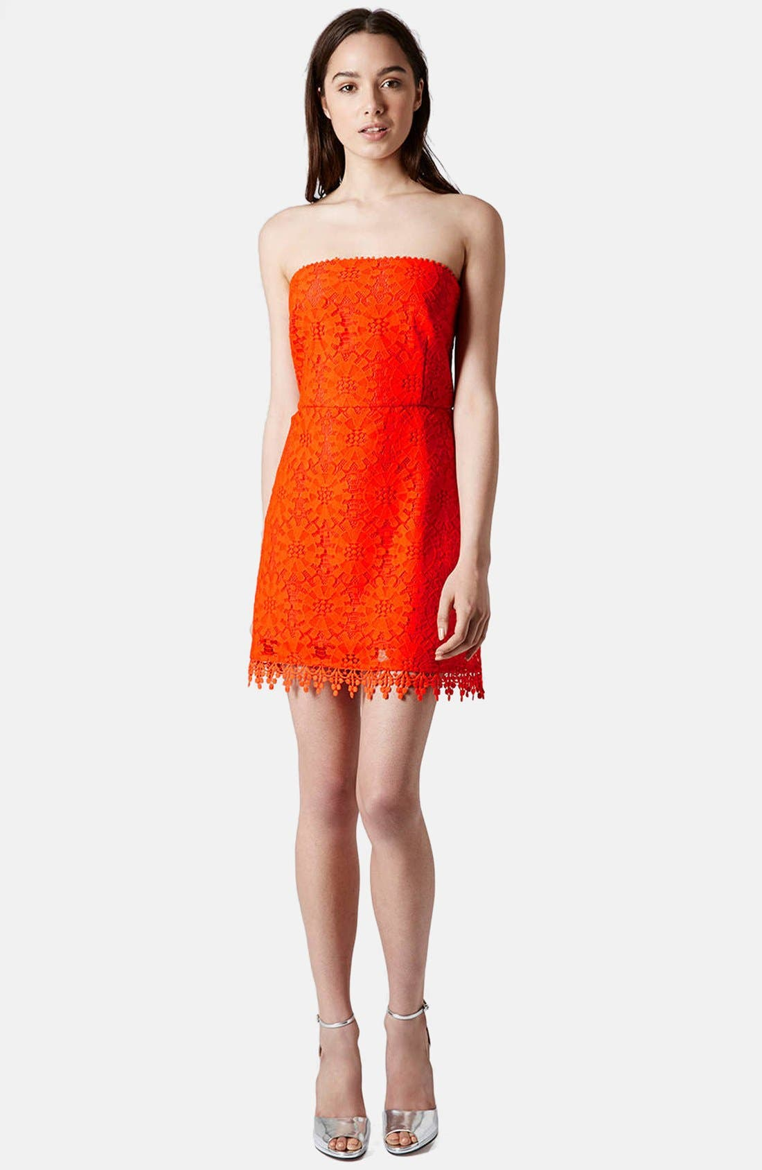 Alternate Image 5  - Topshop Wheel Lace Strapless Dress