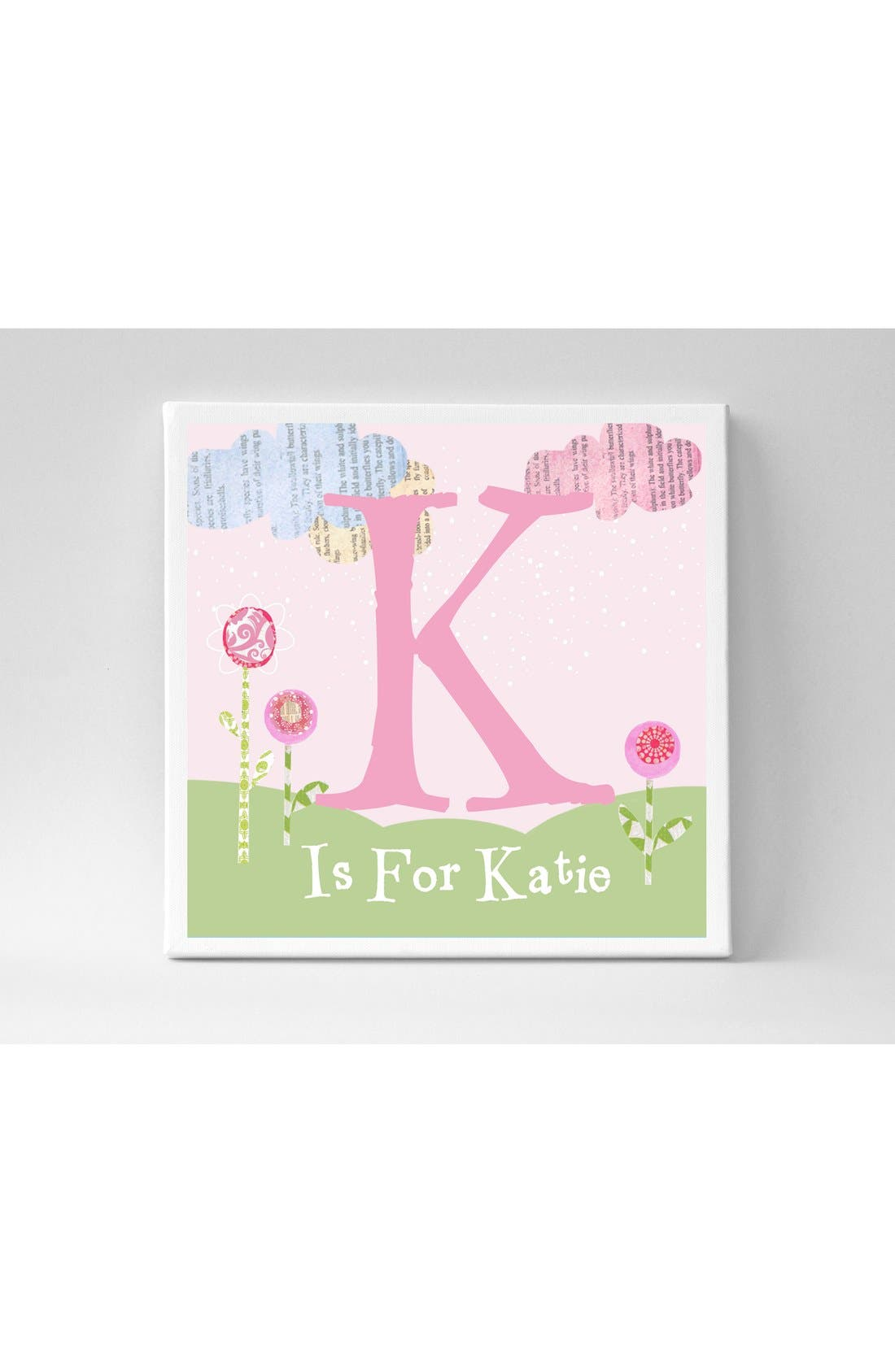 'Letter' Personalized Canvas Wall Art,                         Main,                         color, Pink