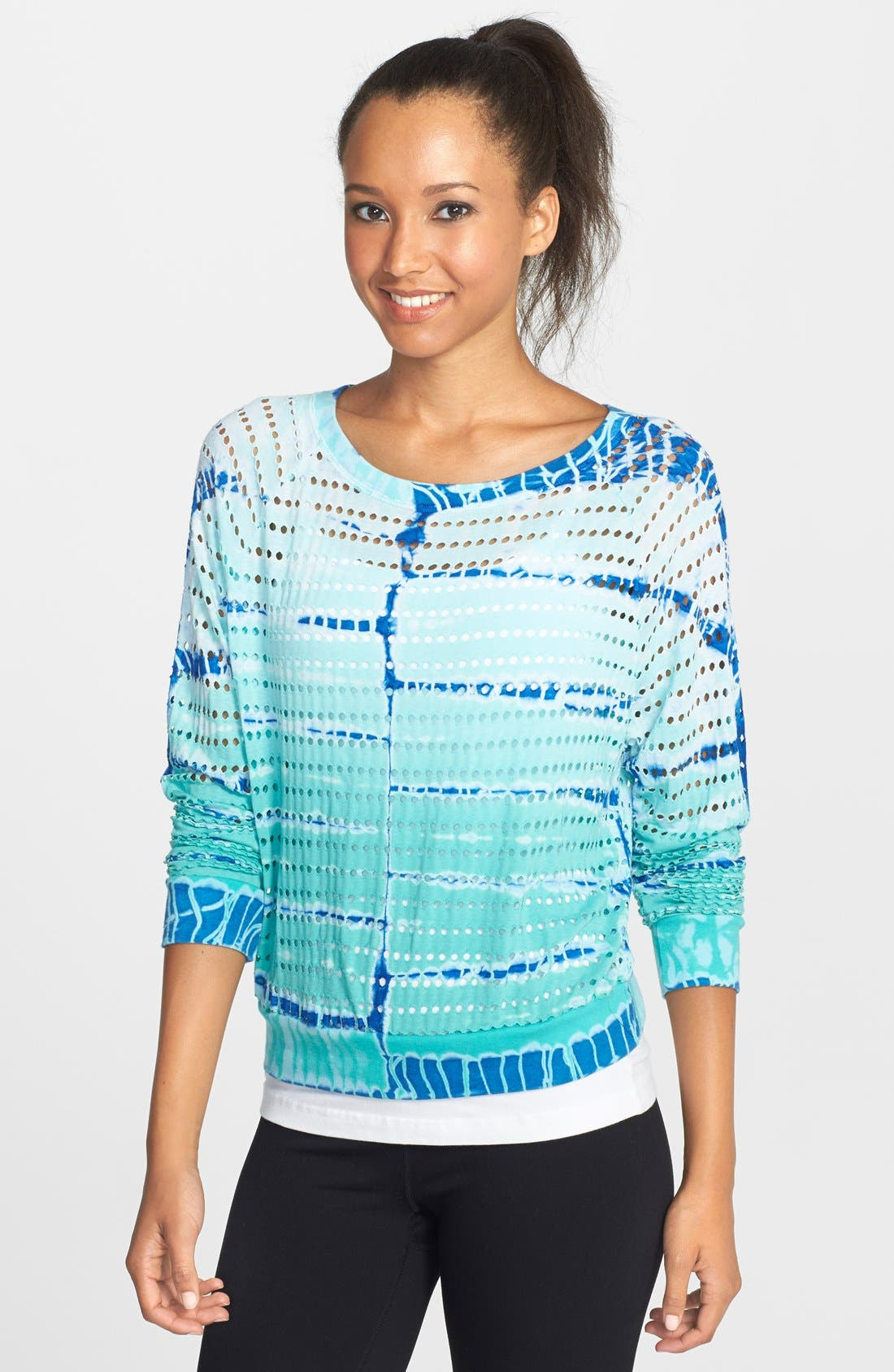 Main Image - Hard Tail 'Shrinky' Perforated Tie Dye Crop Sweatshirt
