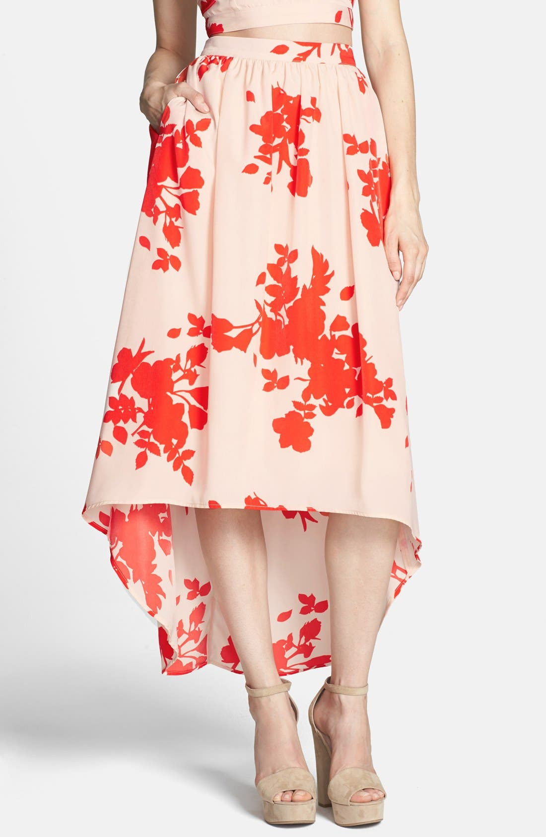 Alternate Image 1 Selected - Rules of Etiquette Floral Print High/Low Tulle Midi Skirt
