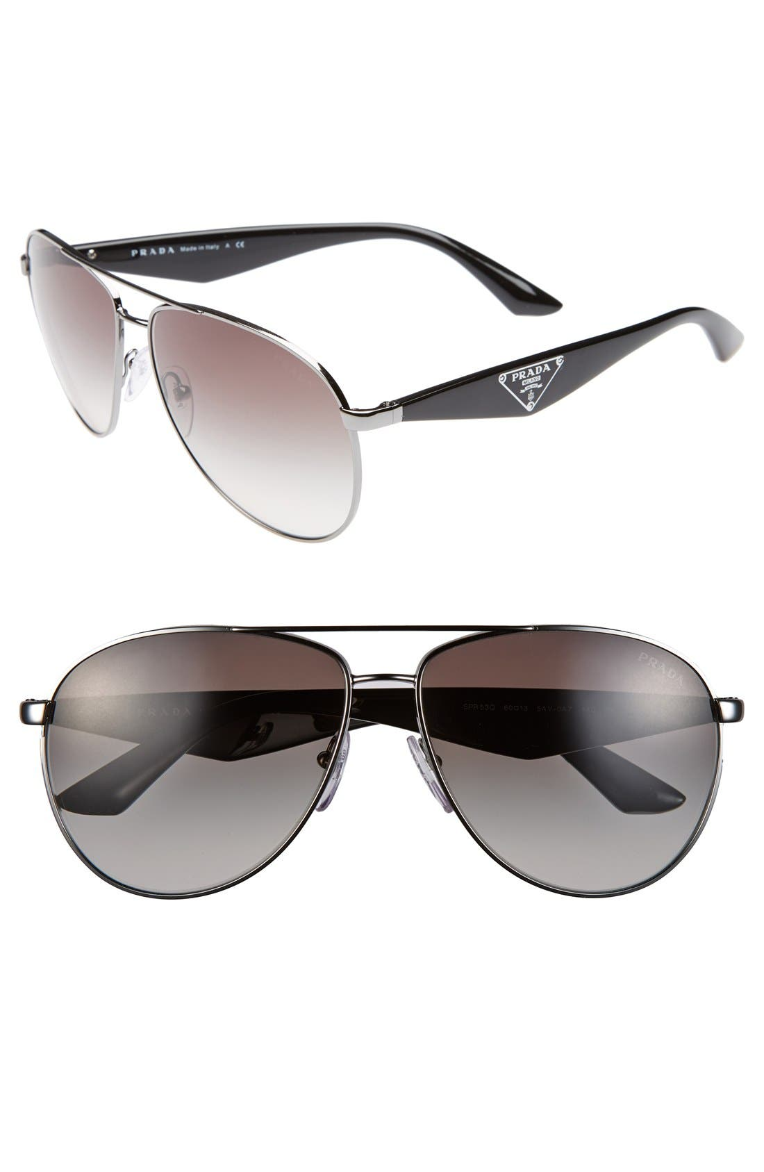 60mm Aviator Sunglasses,                         Main,                         color, Gunmetal