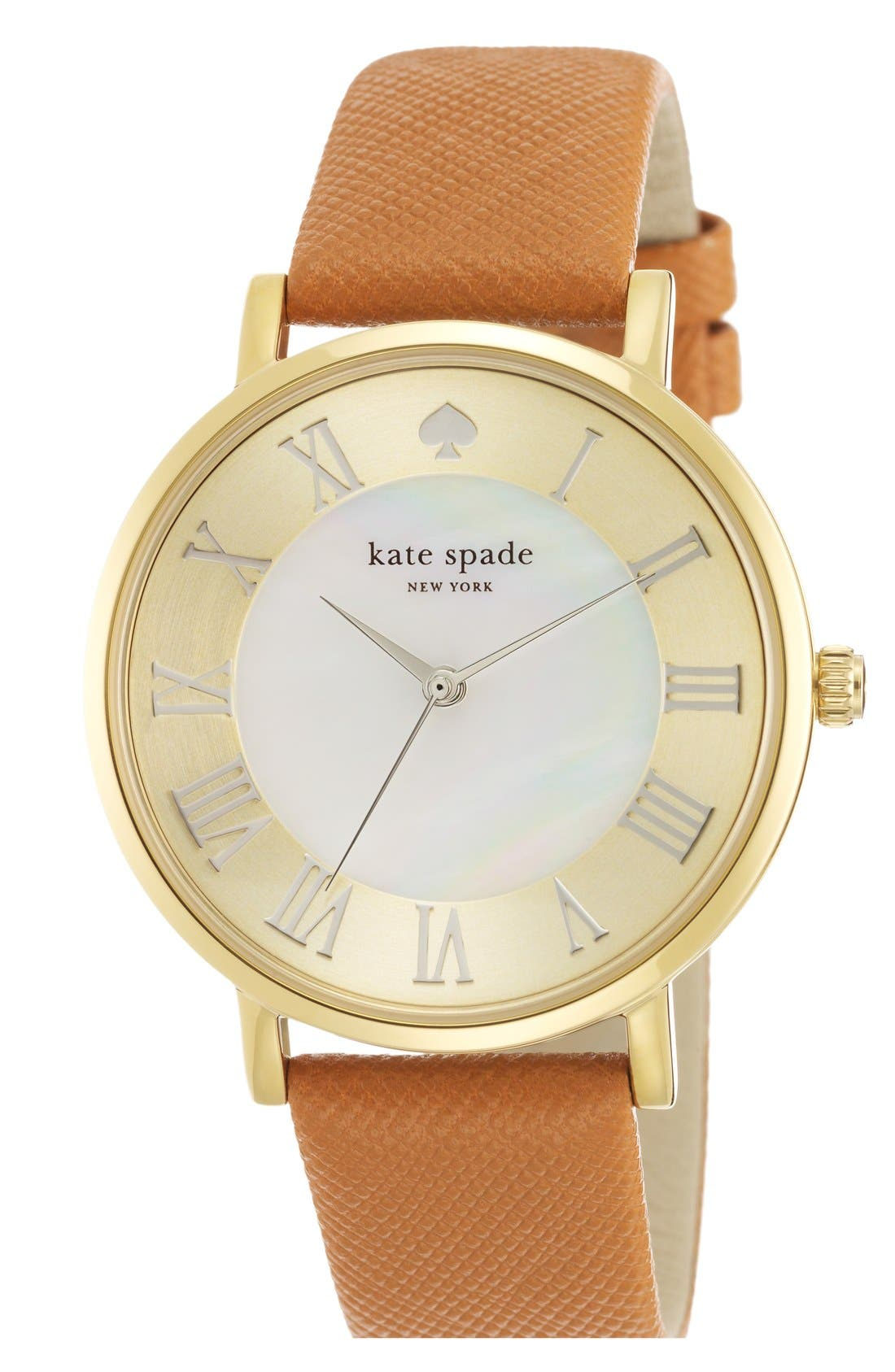 'metro grand' round leather strap watch, 38mm,                             Main thumbnail 1, color,                             Saddle