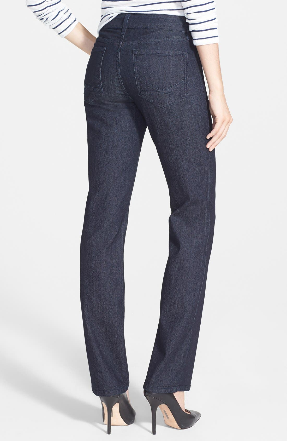 Alternate Image 2  - NYDJ 'Marilyn' Stretch Straight Leg Jeans (Dark Enzyme) (Regular & Petite)