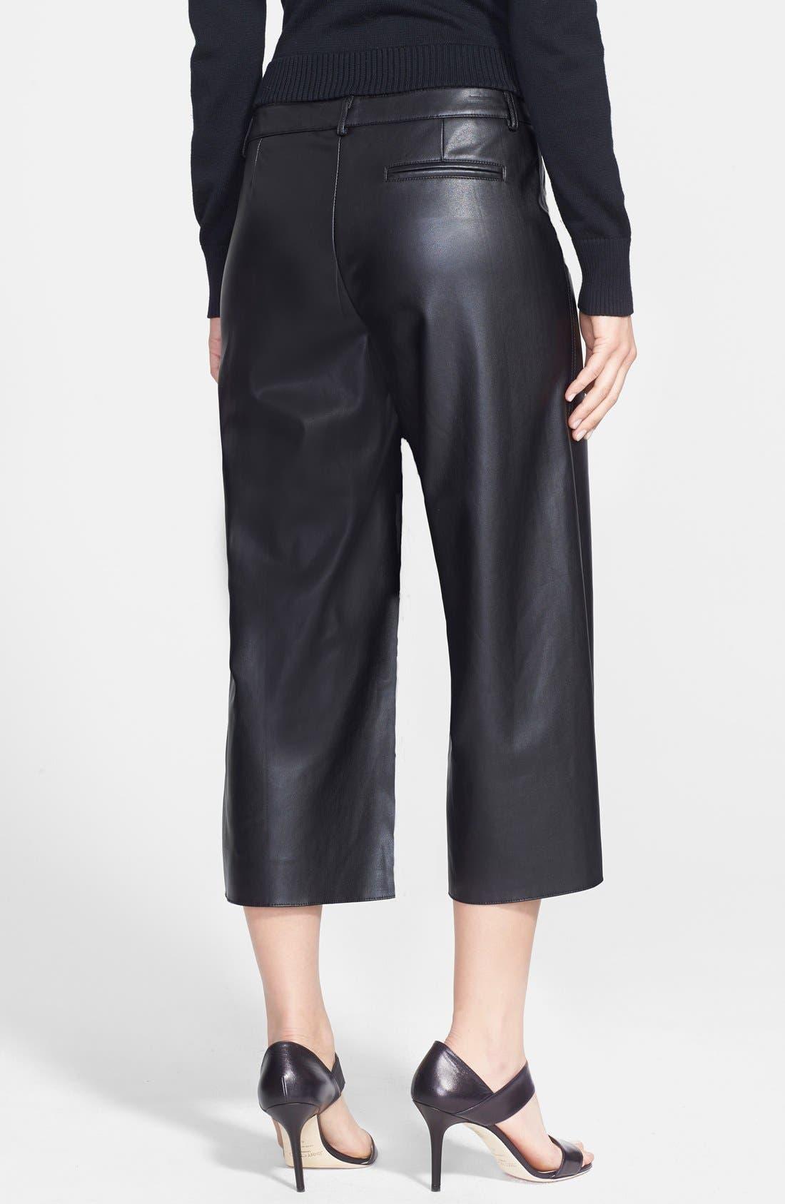 Alternate Image 2  - Pink Tartan Faux Leather Wide Leg Crop Pants