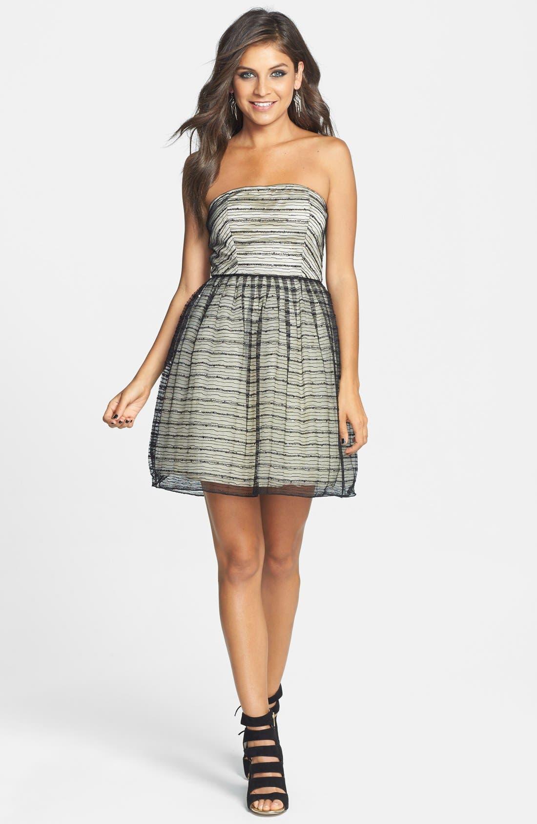 Main Image - a. drea Glitter Textured Fit & Flare Dress (Juniors)