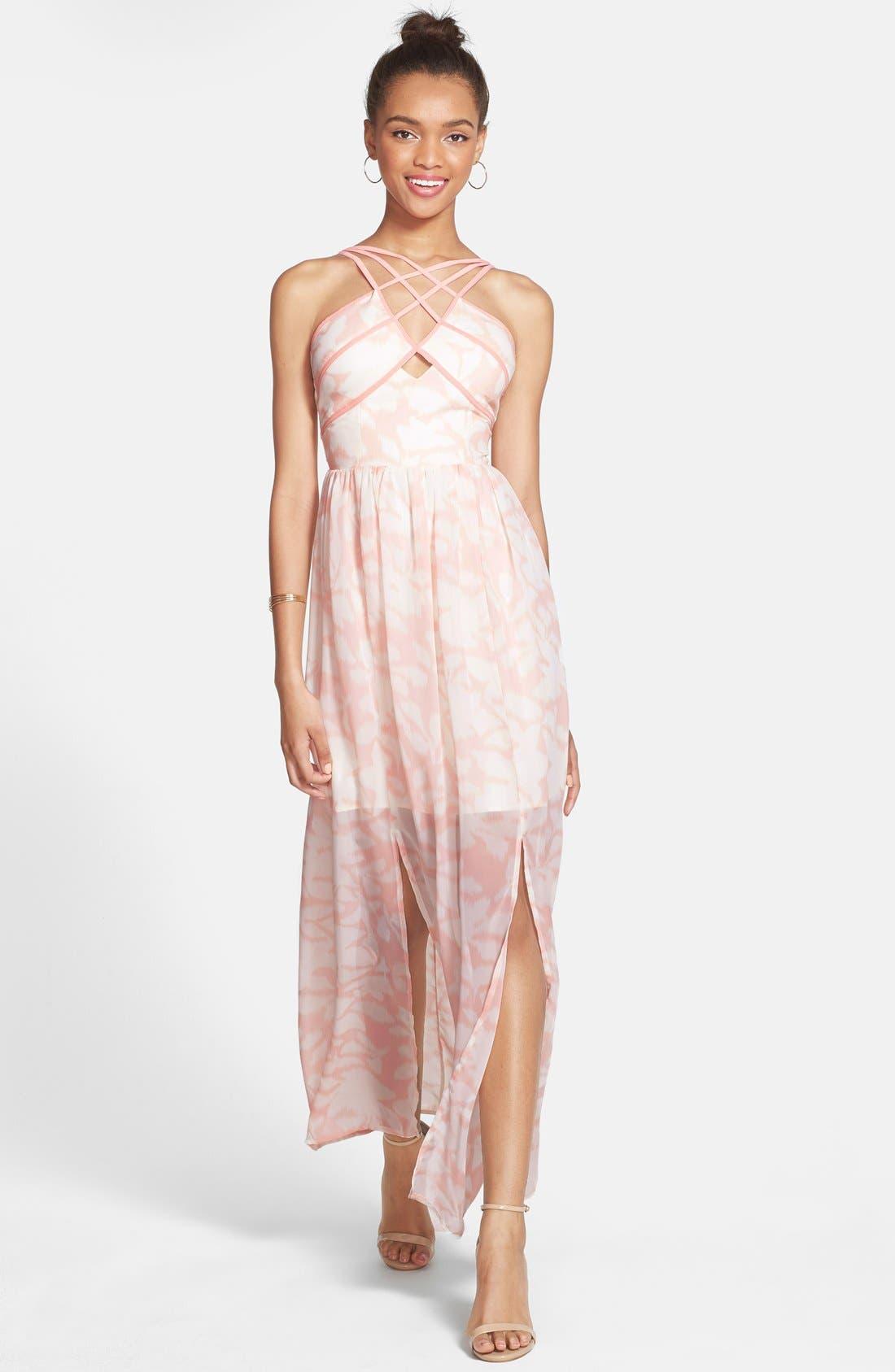 Main Image - a. drea 'Watercolor' Strappy Maxi Dress (Juniors)