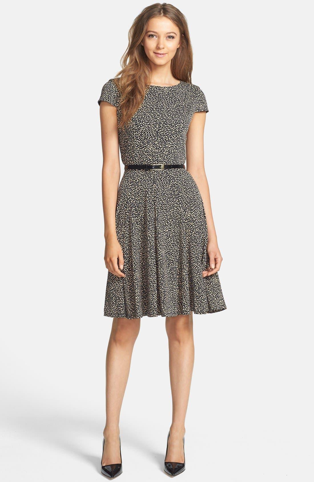 Alternate Image 3  - Eliza J Print Belted Fit & Flare Dress (Petite)