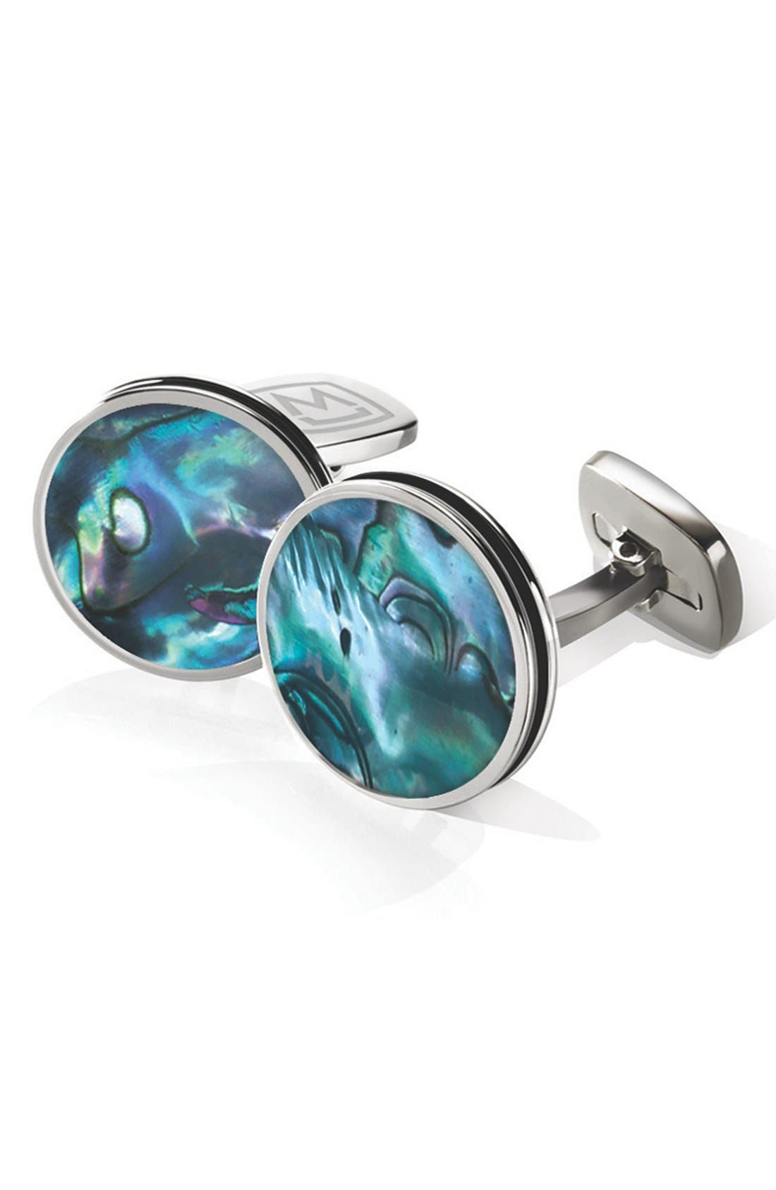 Abalone Cuff Links,                             Main thumbnail 1, color,                             Stainless Steel/ Green