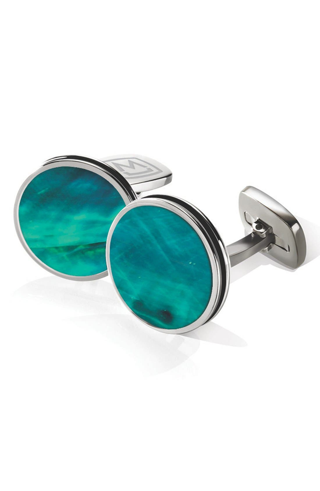 Stainless Steel Cuff Links,                             Main thumbnail 1, color,                             Stainless Steel/ Teal