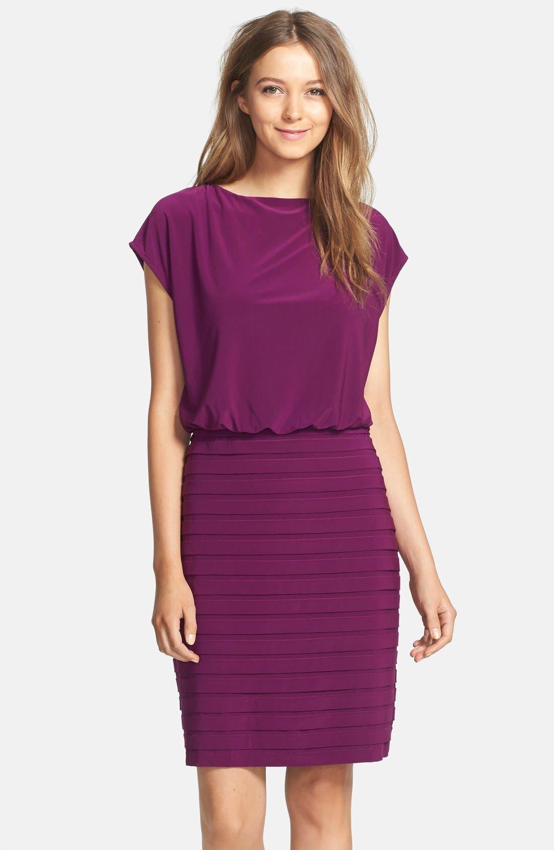 Main Image - Adrianna Papell Pleated Jersey Blouson Dress