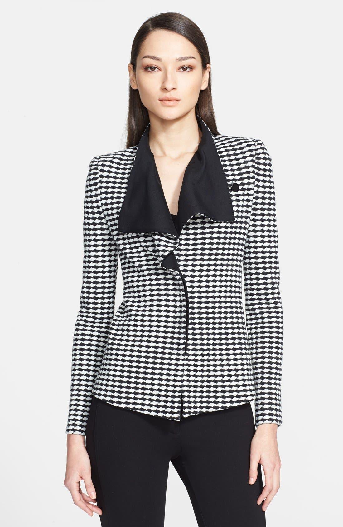 Main Image - Armani Collezioni Asymmetrical Jacquard Jersey Jacket