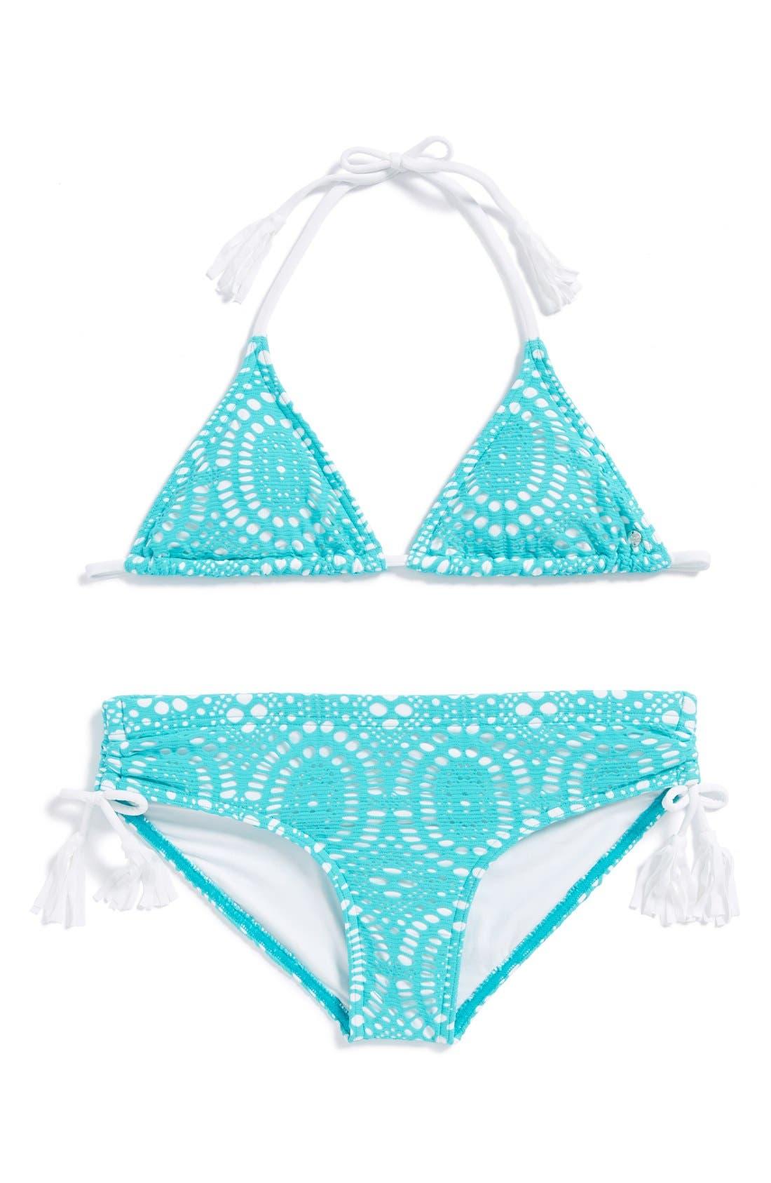 Main Image - Billabong Crochet Texture Triangle Bikini Two-Piece Swimsuit (Big Girls)