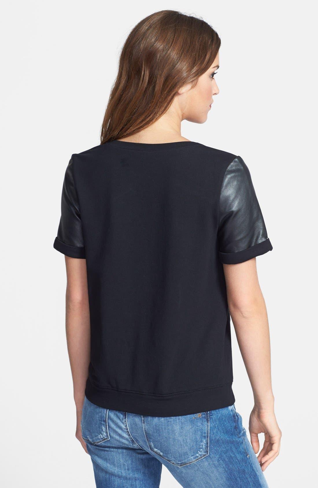 Alternate Image 2  - Halogen® Leather & Knit Mixed Media Top (Regular & Petite)