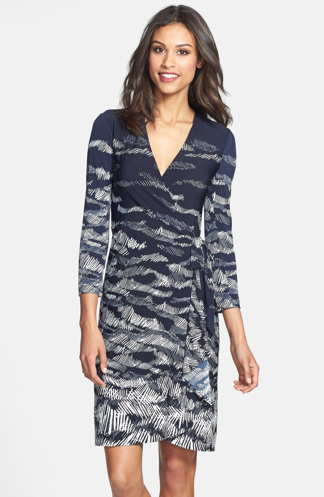 Alternate Image 1 Selected - BCBGMAXAZRIA Landscape Print Matte Jersey Wrap Dress