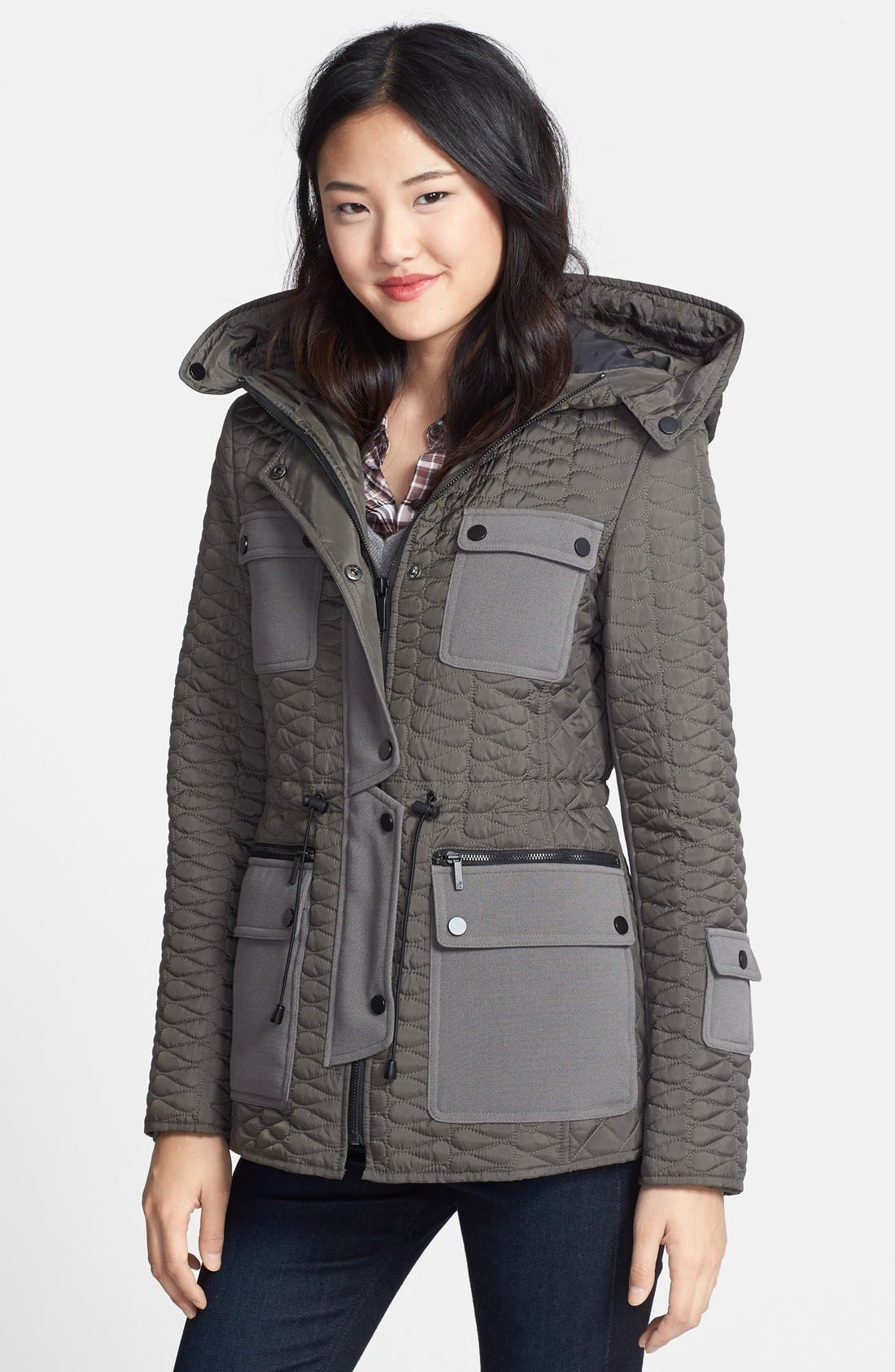 Hooded Quilted Parka,                             Main thumbnail 1, color,                             Smoke