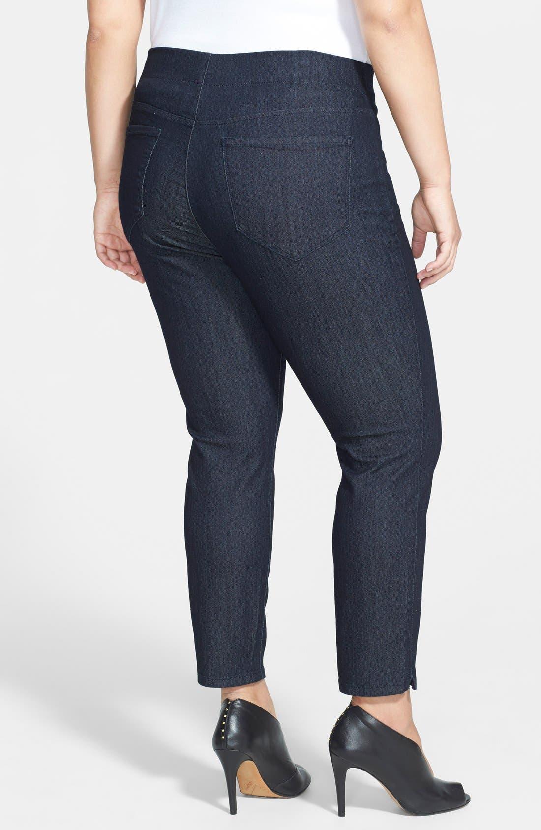 Alternate Image 2  - NYDJ 'Millie' Stretch Ankle Jeans (Dark Enzyme) (Plus Size)