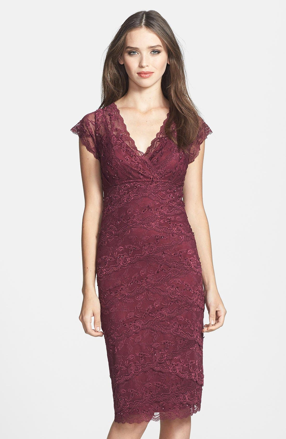 Alternate Image 1 Selected - Marina Tiered Lace Dress (Regular & Petite)