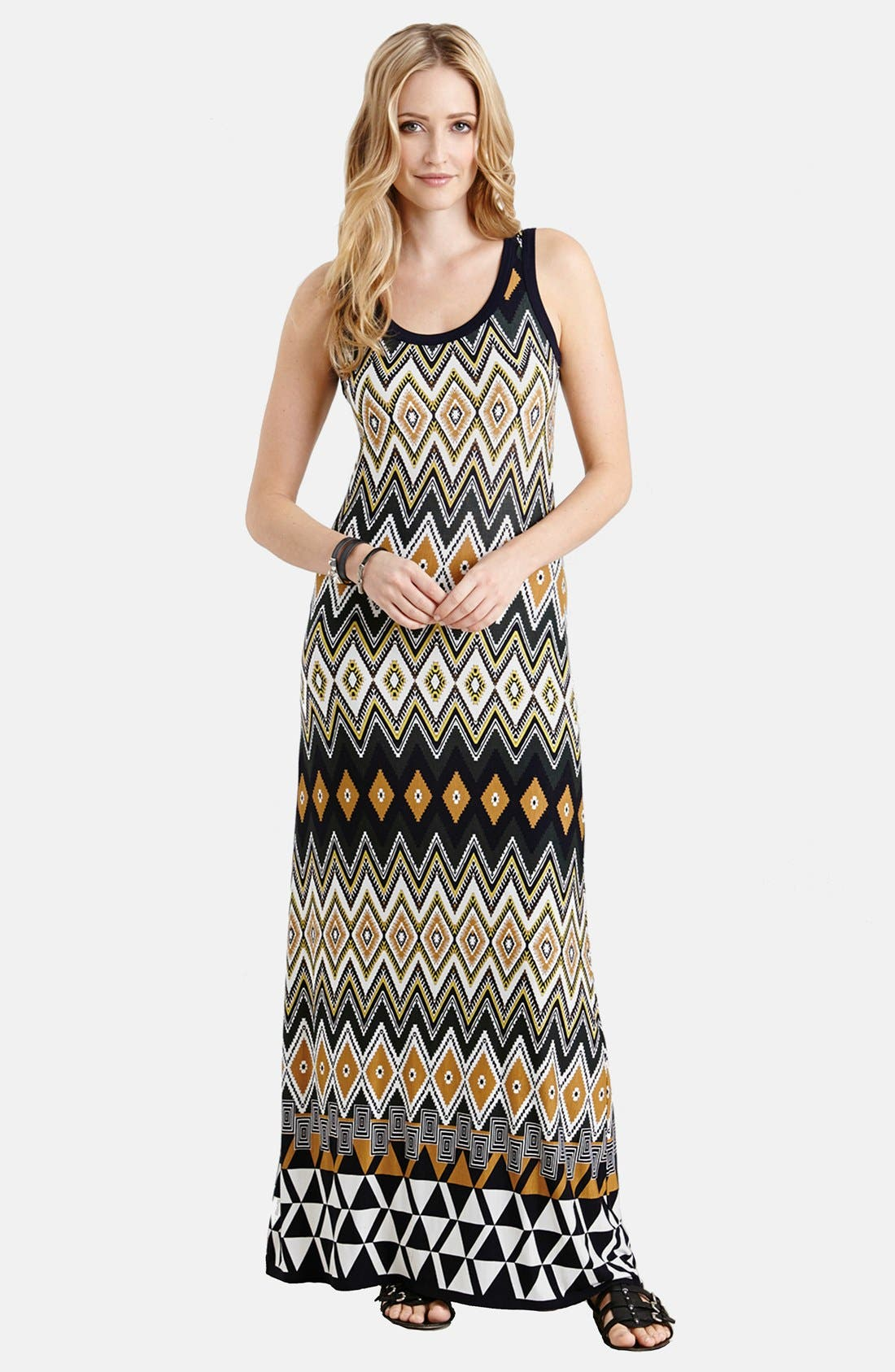Main Image - Karen Kane 'Egyptian Diamond' Print Sleeveless Maxi Dress