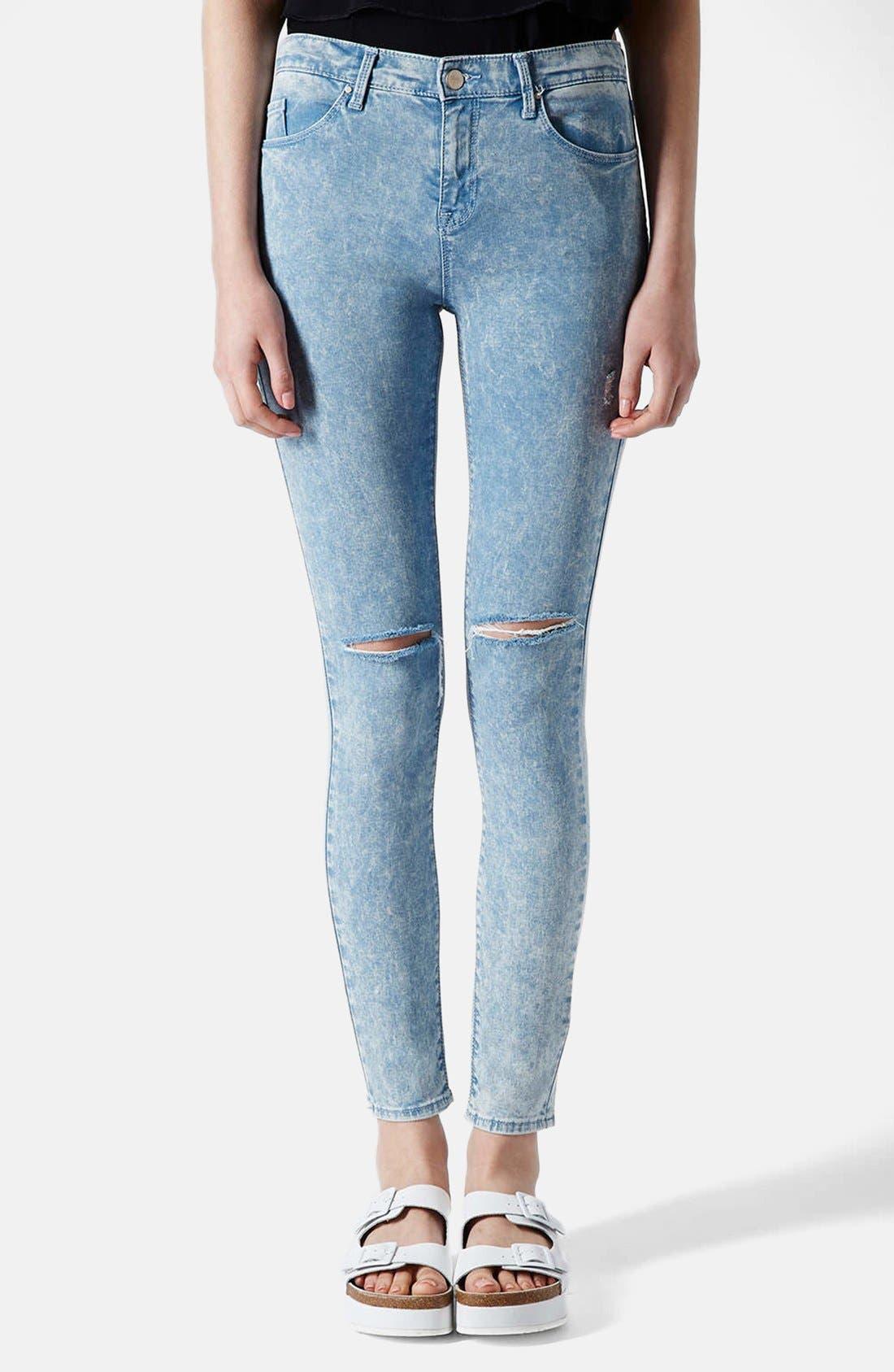 Main Image - Topshop Moto 'Leigh' Acid Wash Ripped Skinny Jeans (Light Blue) (Regular & Short)