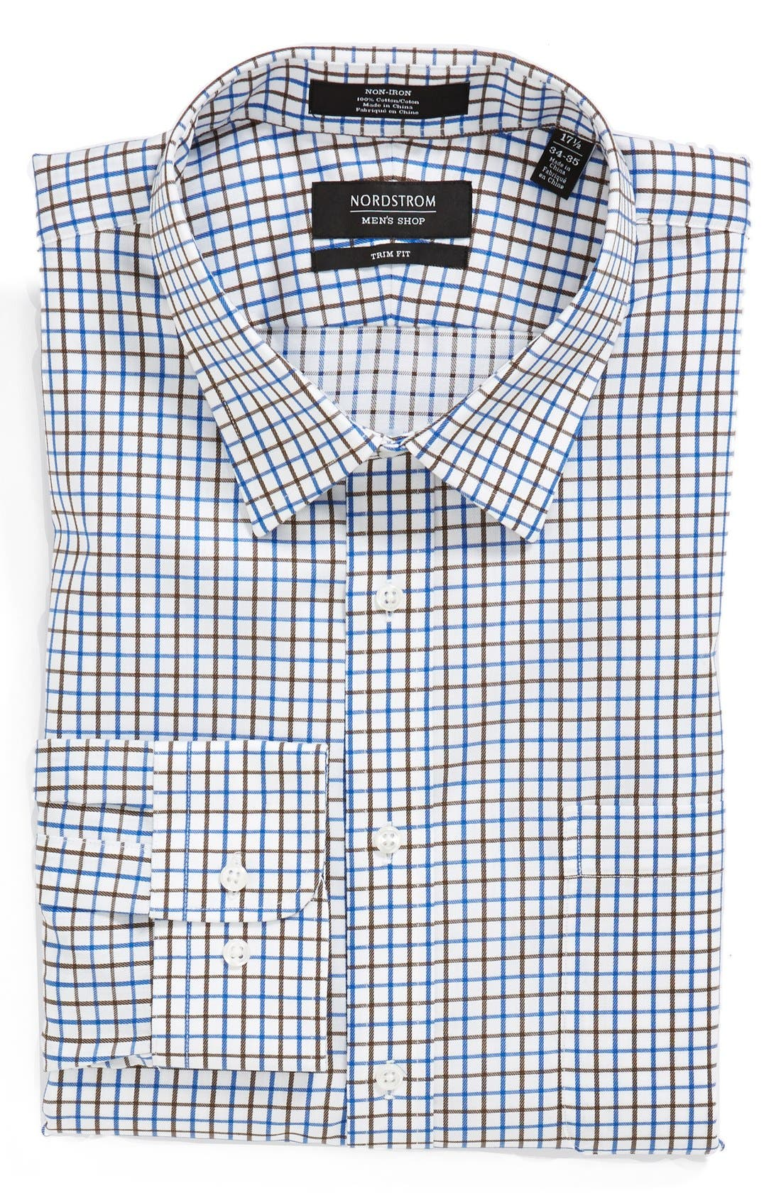 Nordstrom Trim Fit Non-Iron Check Dress Shirt,                             Main thumbnail 1, color,                             Bean