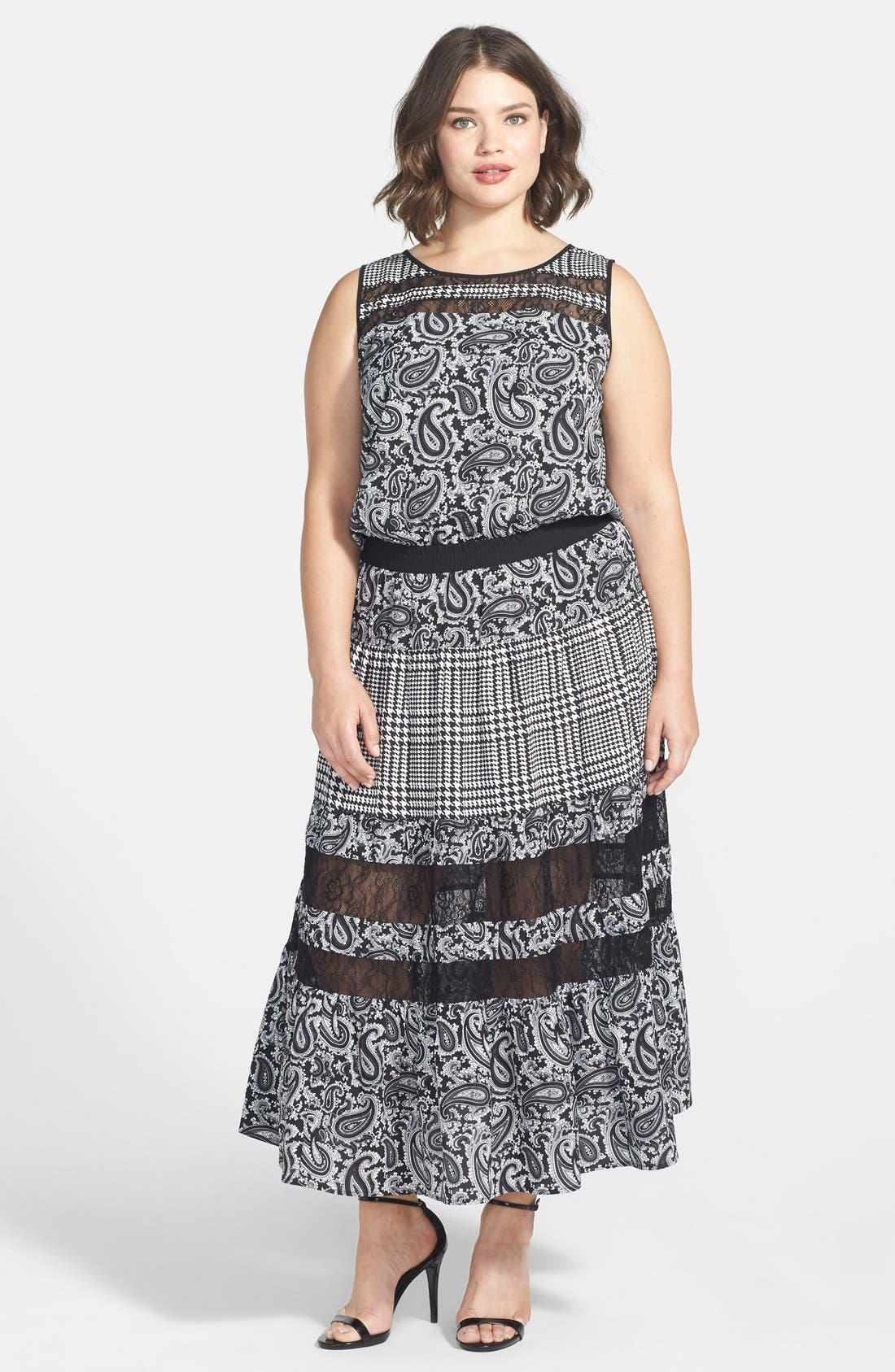 Alternate Image 1 Selected - MICHAEL Michael Kors 'Lazio' Mix Print Maxi Dress (Plus Size)