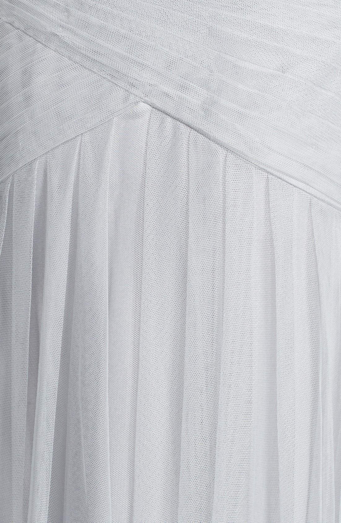 Alternate Image 3  - Monique Lhuillier Bridesmaids Pleated One-Shoulder Tulle Trumpet Gown