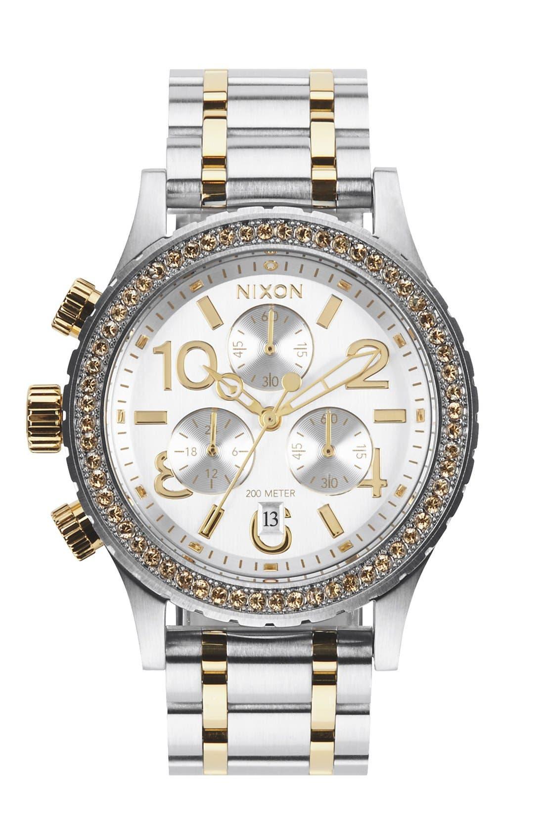 Alternate Image 1 Selected - Nixon 'The 38-20' Crystal Bezel Chronograph Bracelet Watch, 38mm