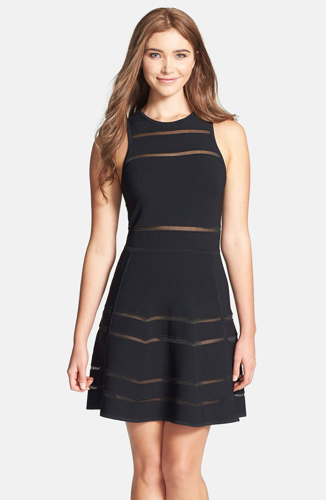 Main Image - Nicole Miller 'Cody' Banded Knit Fit & Flare Dress