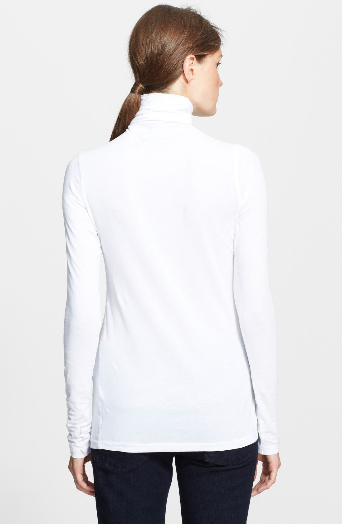 'Favorite' Soft Cotton Turtleneck,                             Alternate thumbnail 3, color,                             White