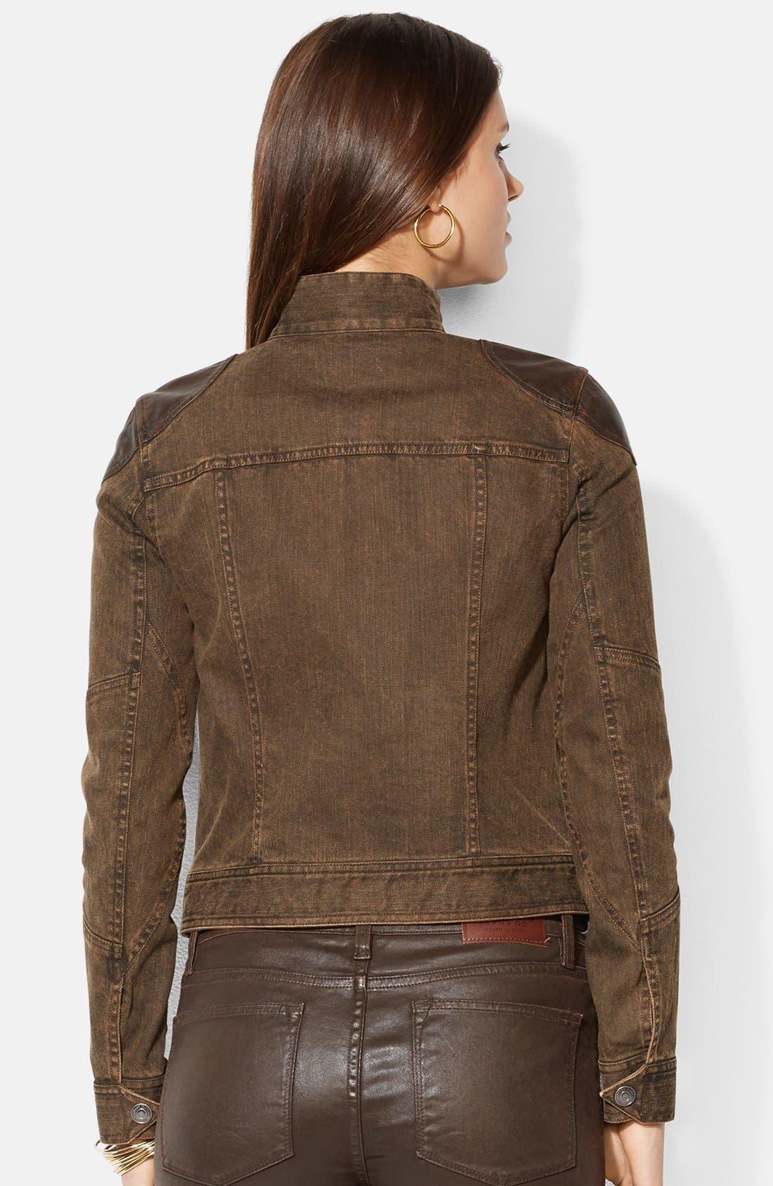Alternate Image 2  - Lauren Ralph Lauren Leather Trim Denim Jacket