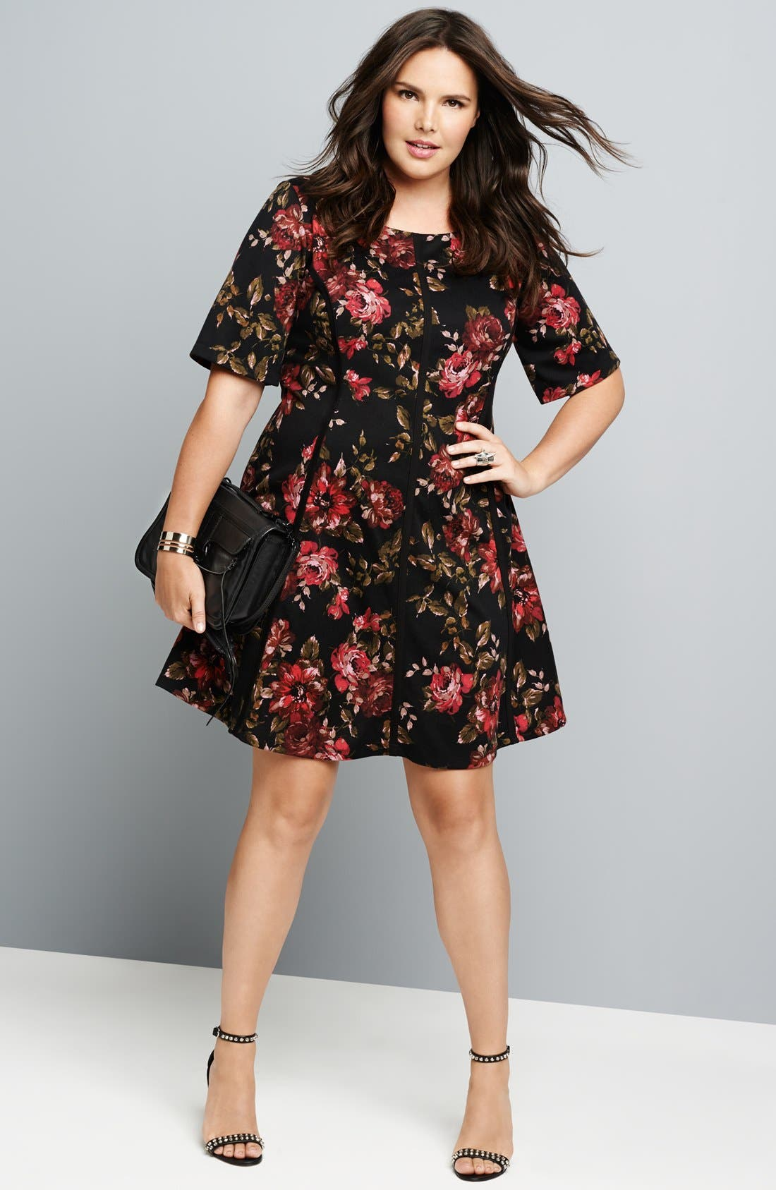 Alternate Image 4  - Gabby Skye Floral Print Fit & Flare Dress (Plus Size)