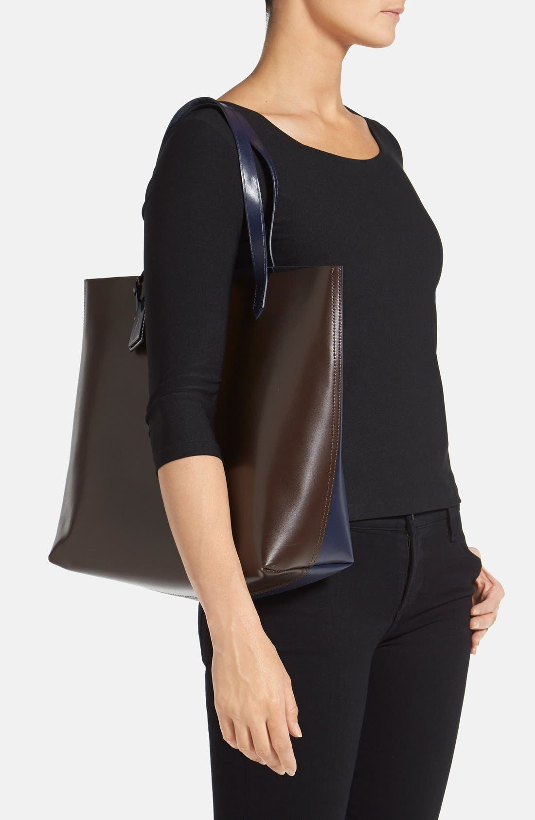 'Commuter' Leather Tote,                             Alternate thumbnail 2, color,                             Chocolate Multi