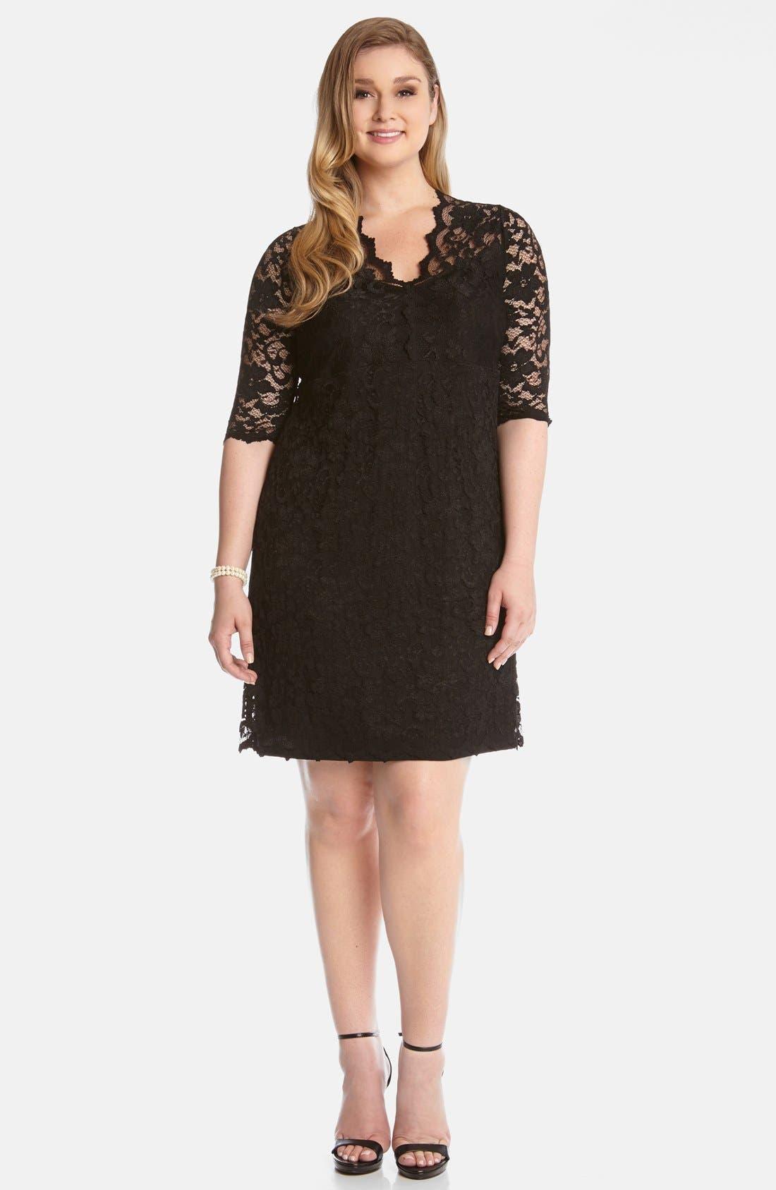 Karen Kane Scallop Illusion Lace Dress (Plus Size)