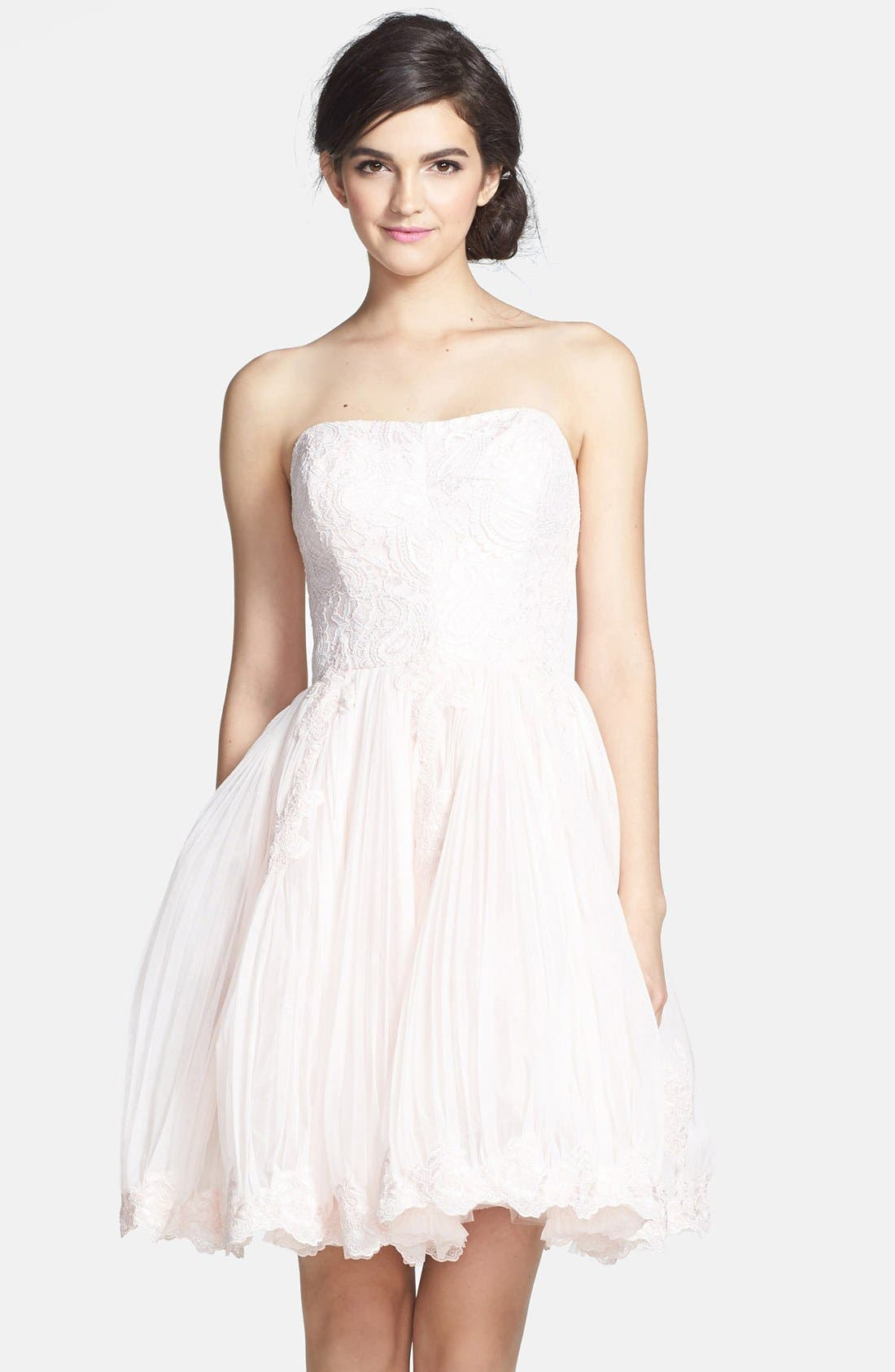 Main Image - Ted Baker London 'Raul' Embroidered Lace Fit & Flare Dress