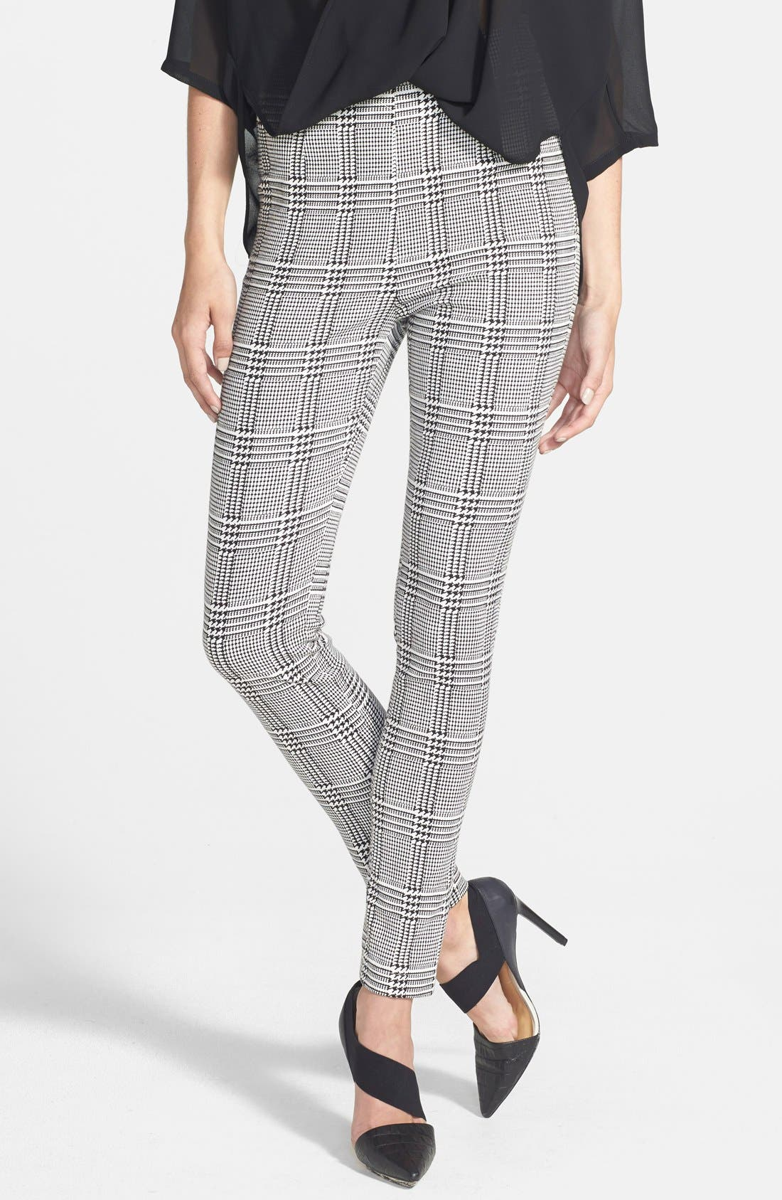 Houndstooth High Waist Leggings,                         Main,                         color, Black
