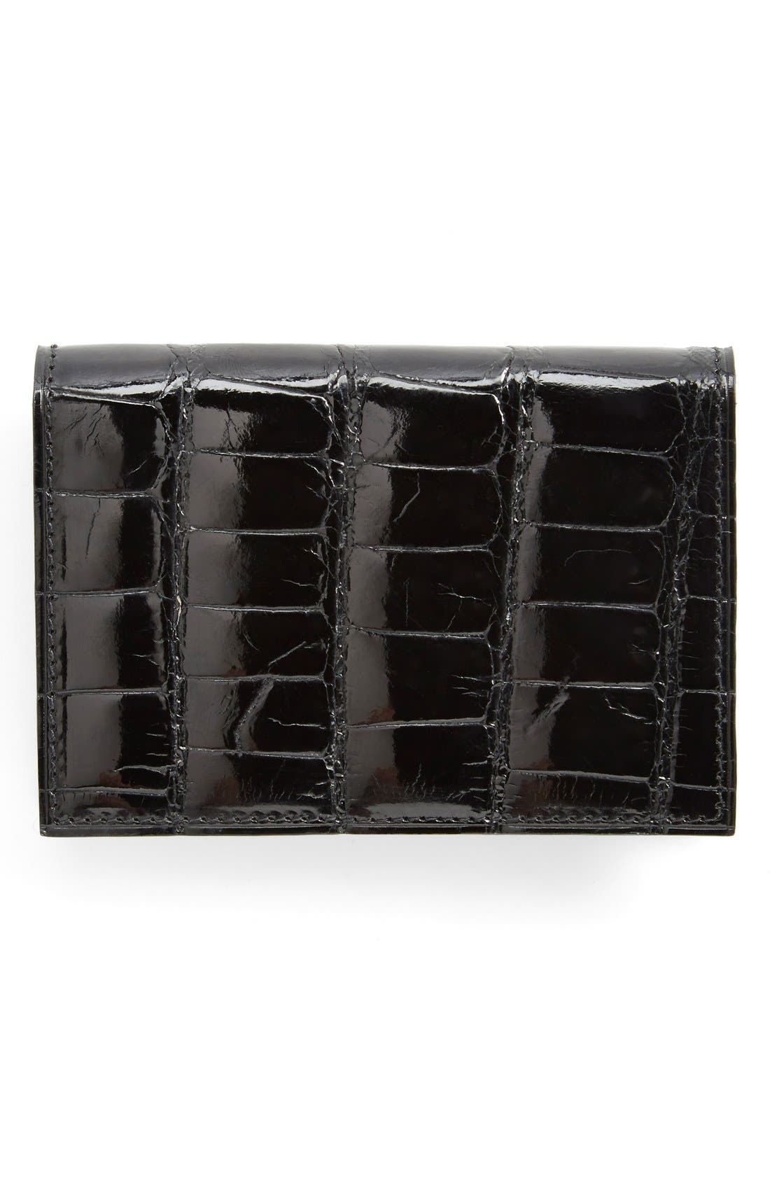 Alligator Card Case,                             Main thumbnail 1, color,                             Black