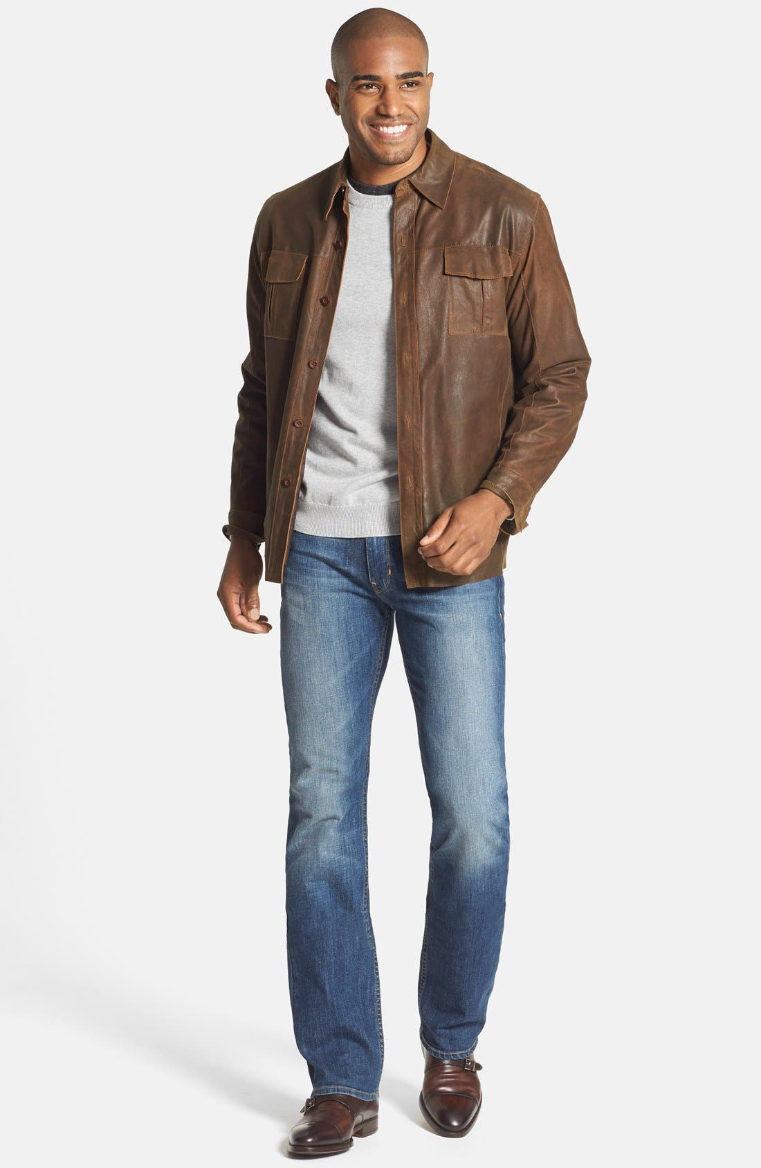 Alternate Image 4  - Missani Le Collezioni Classic Fit Military Shirt Leather Jacket