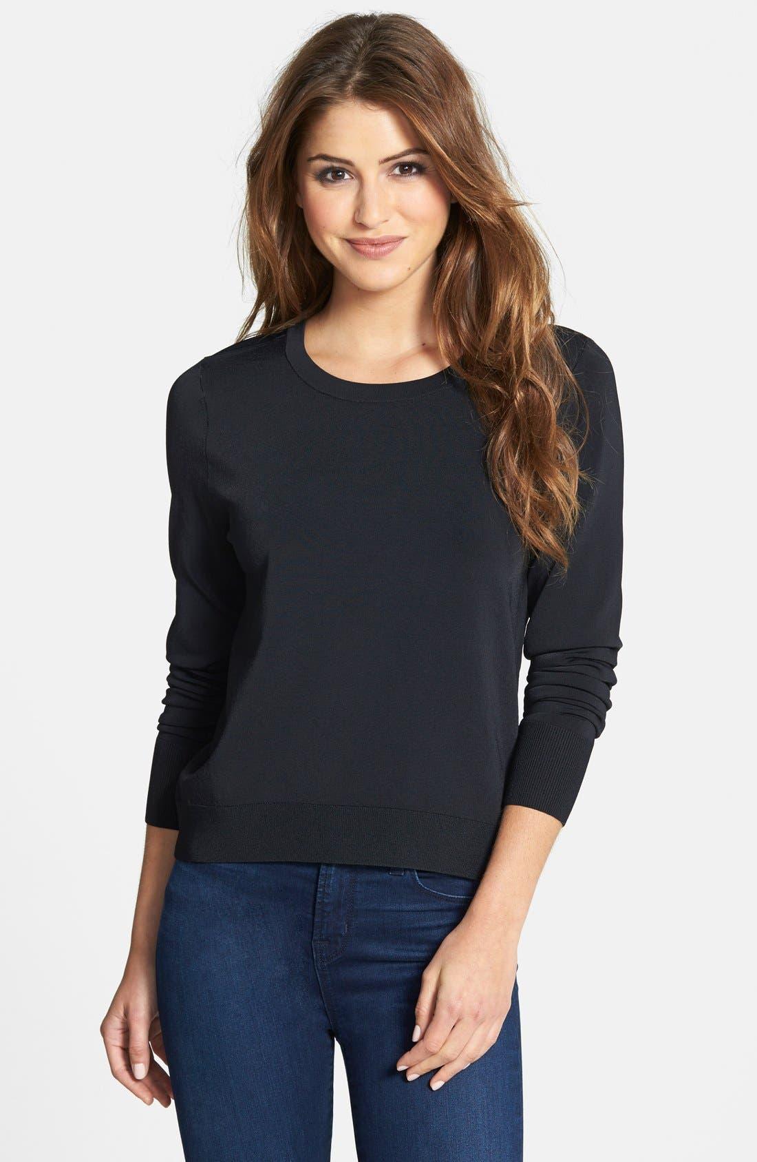 Alternate Image 1 Selected - Halogen® Fine Gauge Crewneck Sweater (Regular & Petite)