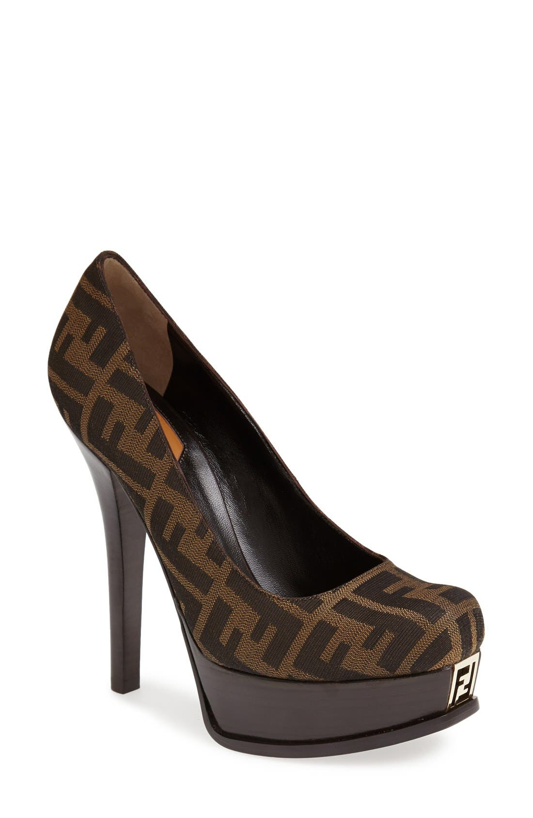 Alternate Image 1 Selected - Fendi 'Fendista Zucca' Platform Pump