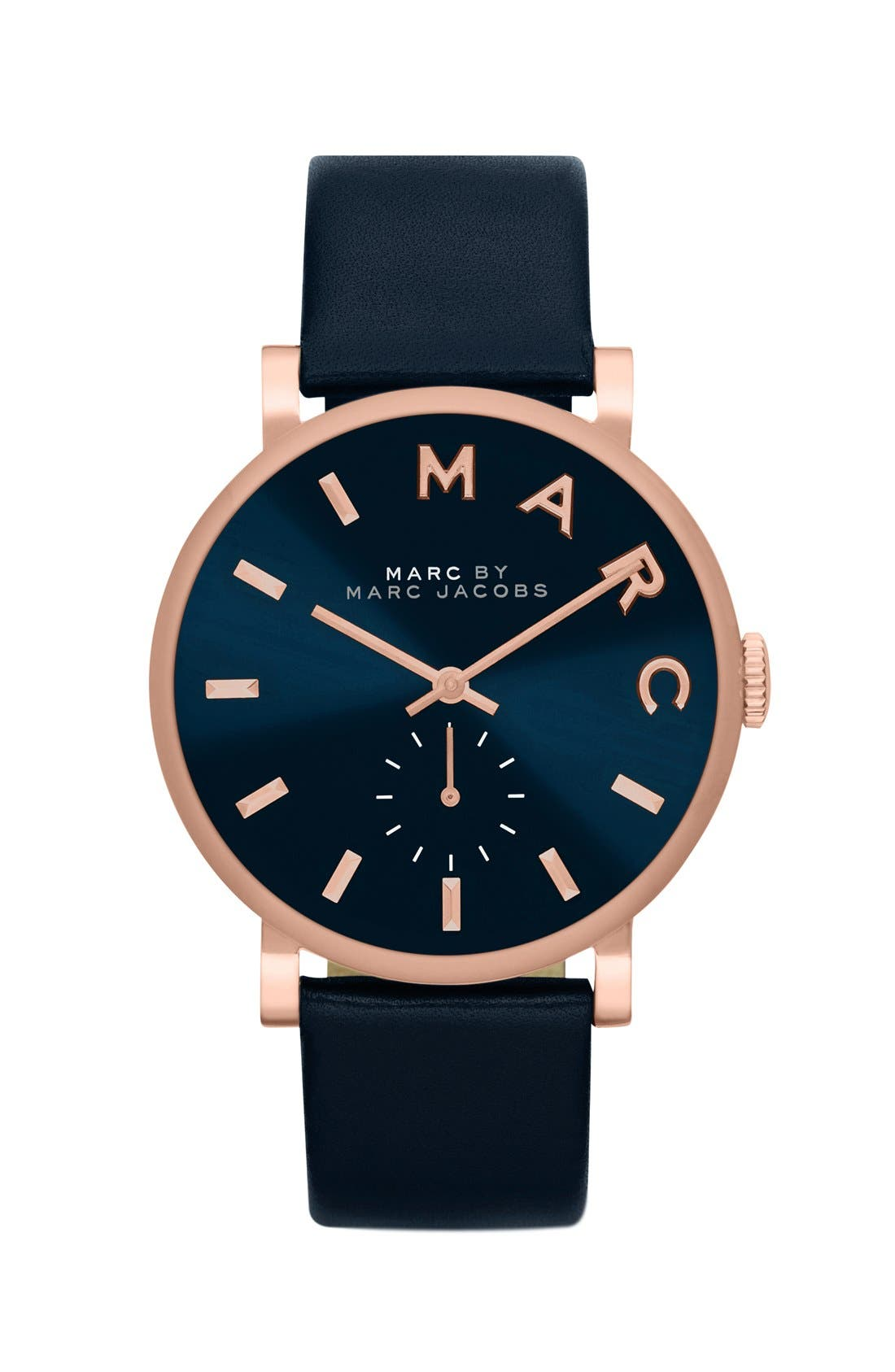 Main Image - MARC JACOBS 'Baker' Leather Strap Watch, 37mm