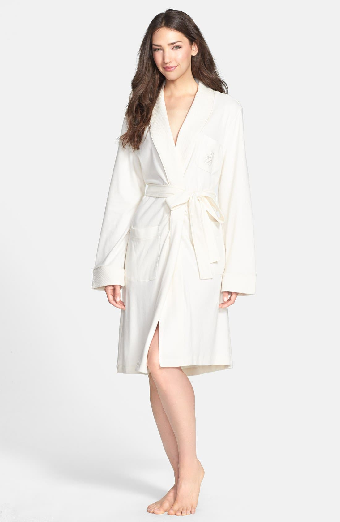 Quilted Collar Robe,                         Main,                         color, Ivory