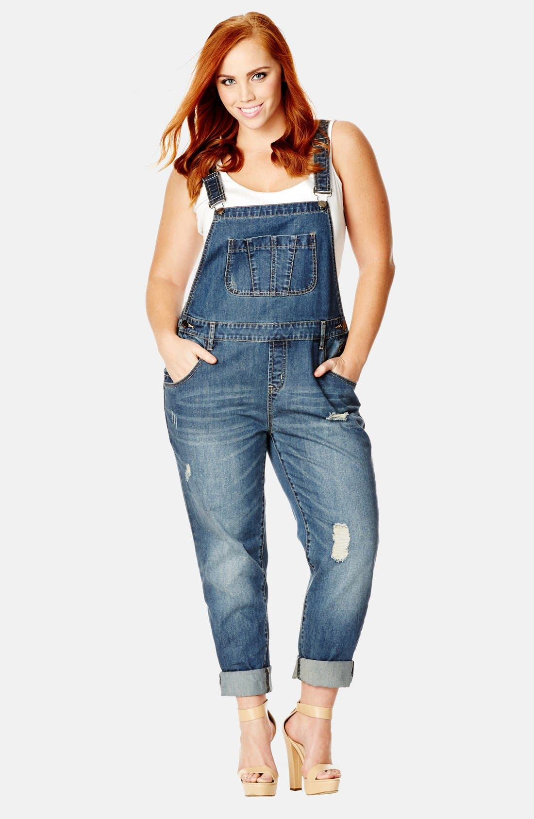Main Image - City Chic 'Over It All' Distressed Denim Overalls (Plus Size)