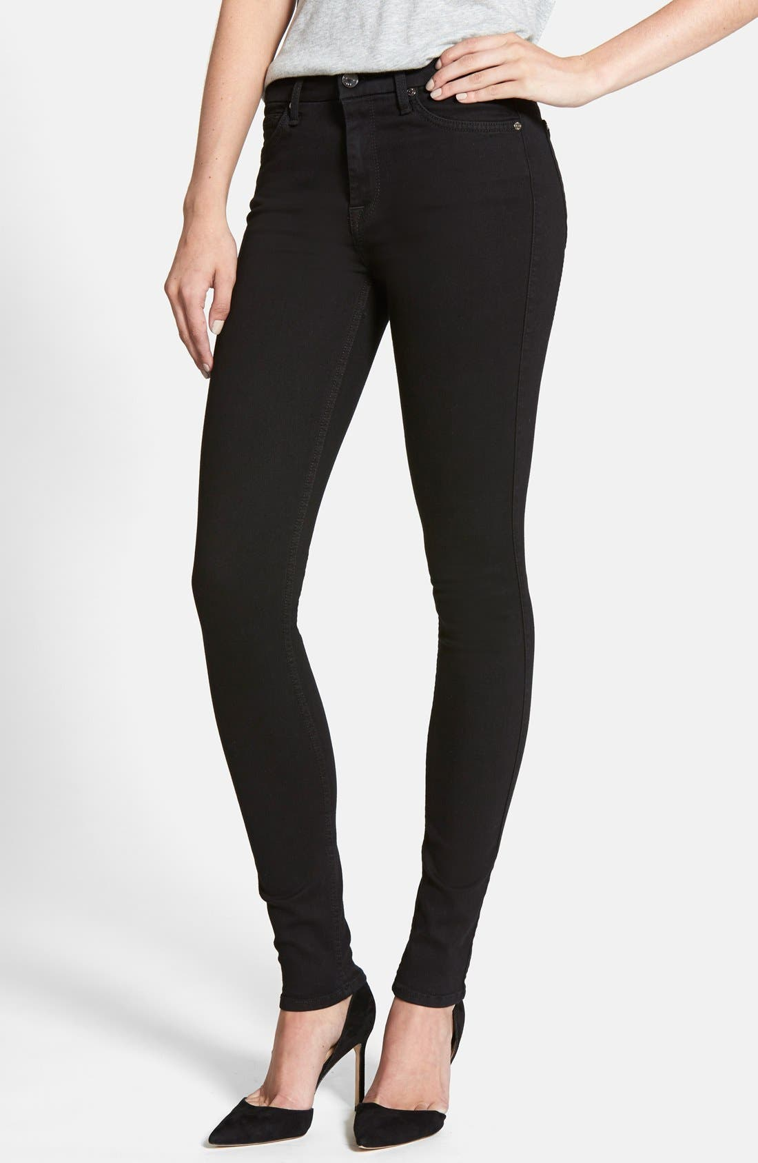 Main Image - 7 For All Mankind® 'Slim Illusion Luxe' High Waist Skinny Jeans (Black)