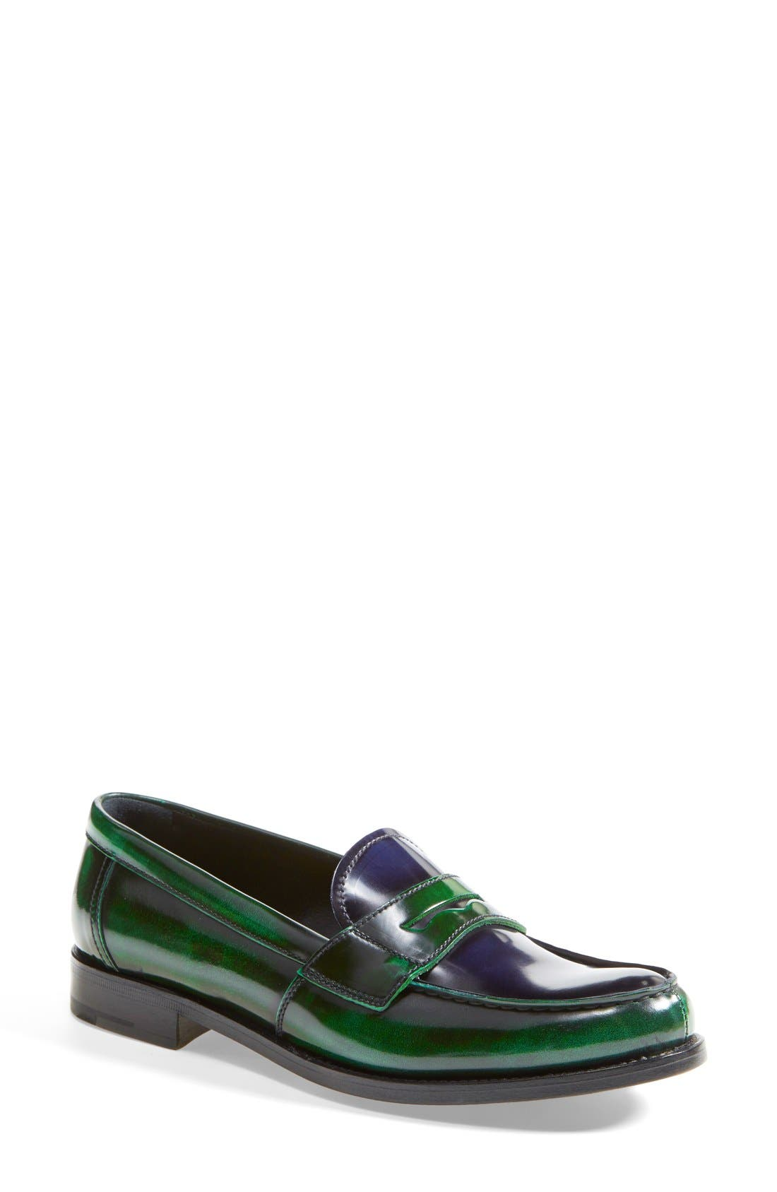 Alternate Image 1 Selected - Prada Bicolor Leather Penny Loafer (Women)
